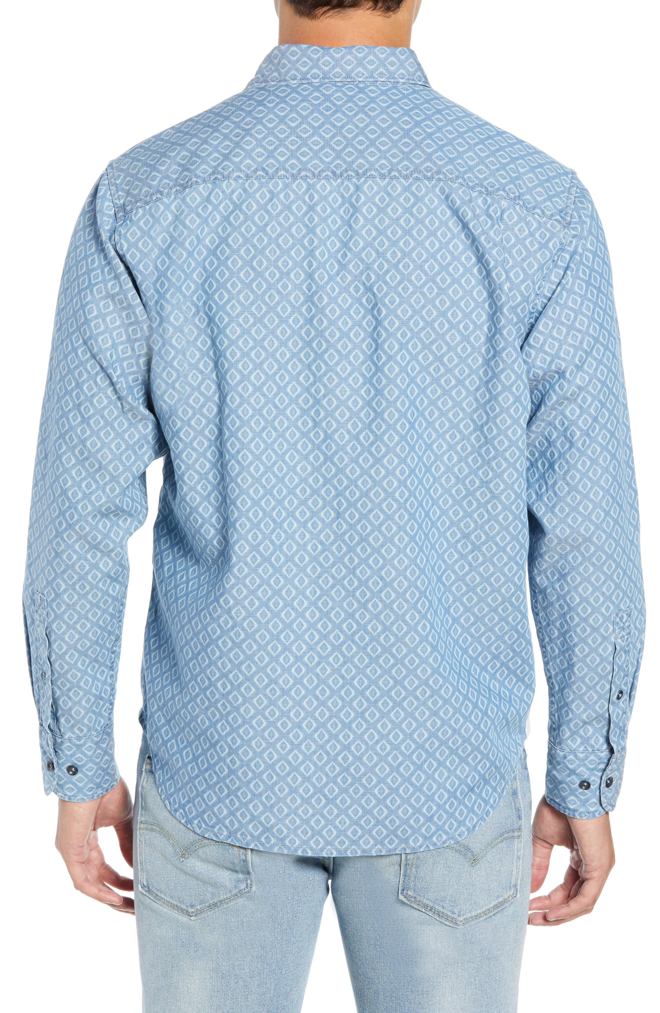 Geo Indigo Regular Fit Sport Shirt,                             Alternate thumbnail 3, color,                             400
