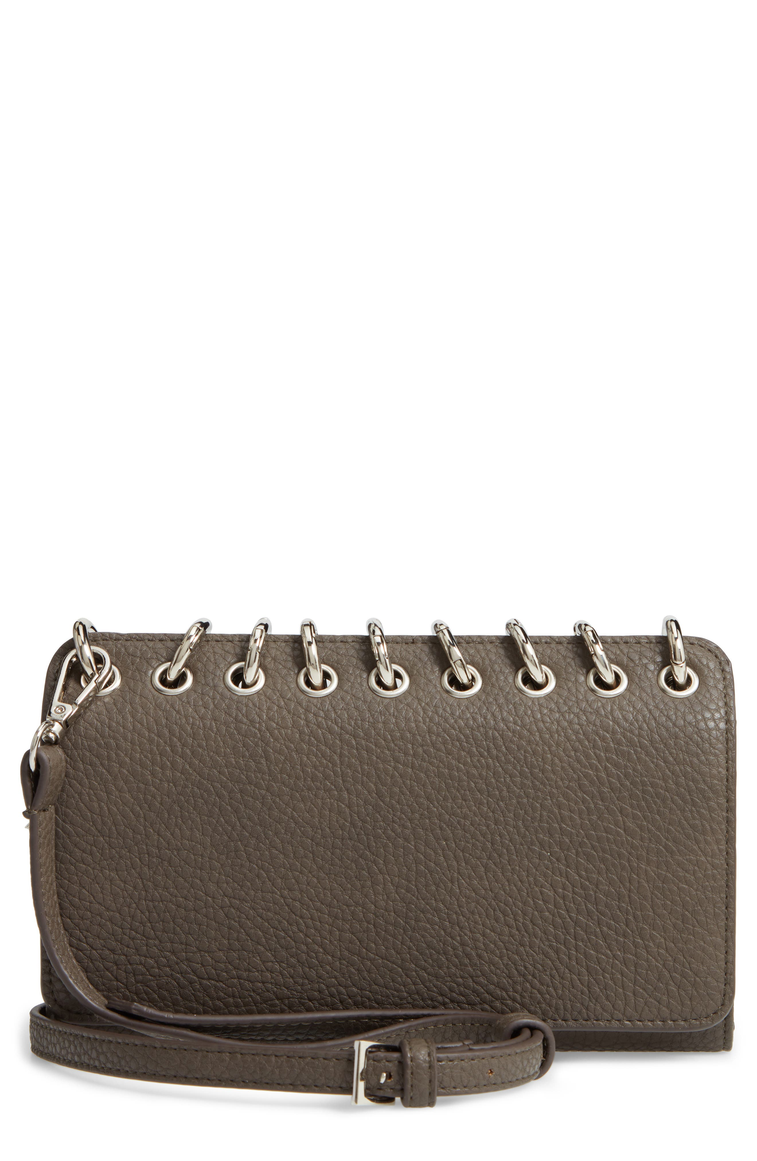 SONDRA ROBERTS Ring Faux Leather Crossbody Bag - Grey in Taupe