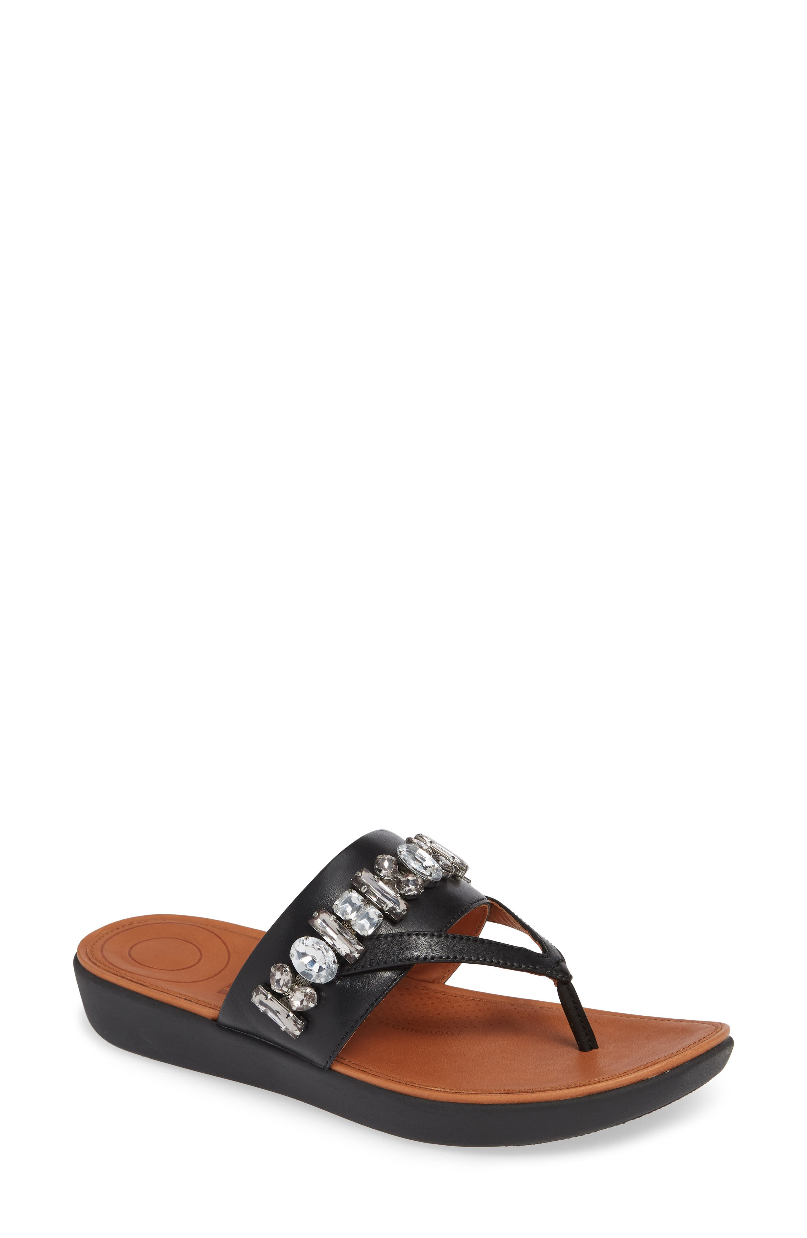 Delta Embellished Slide Sandal,                             Main thumbnail 1, color,                             001