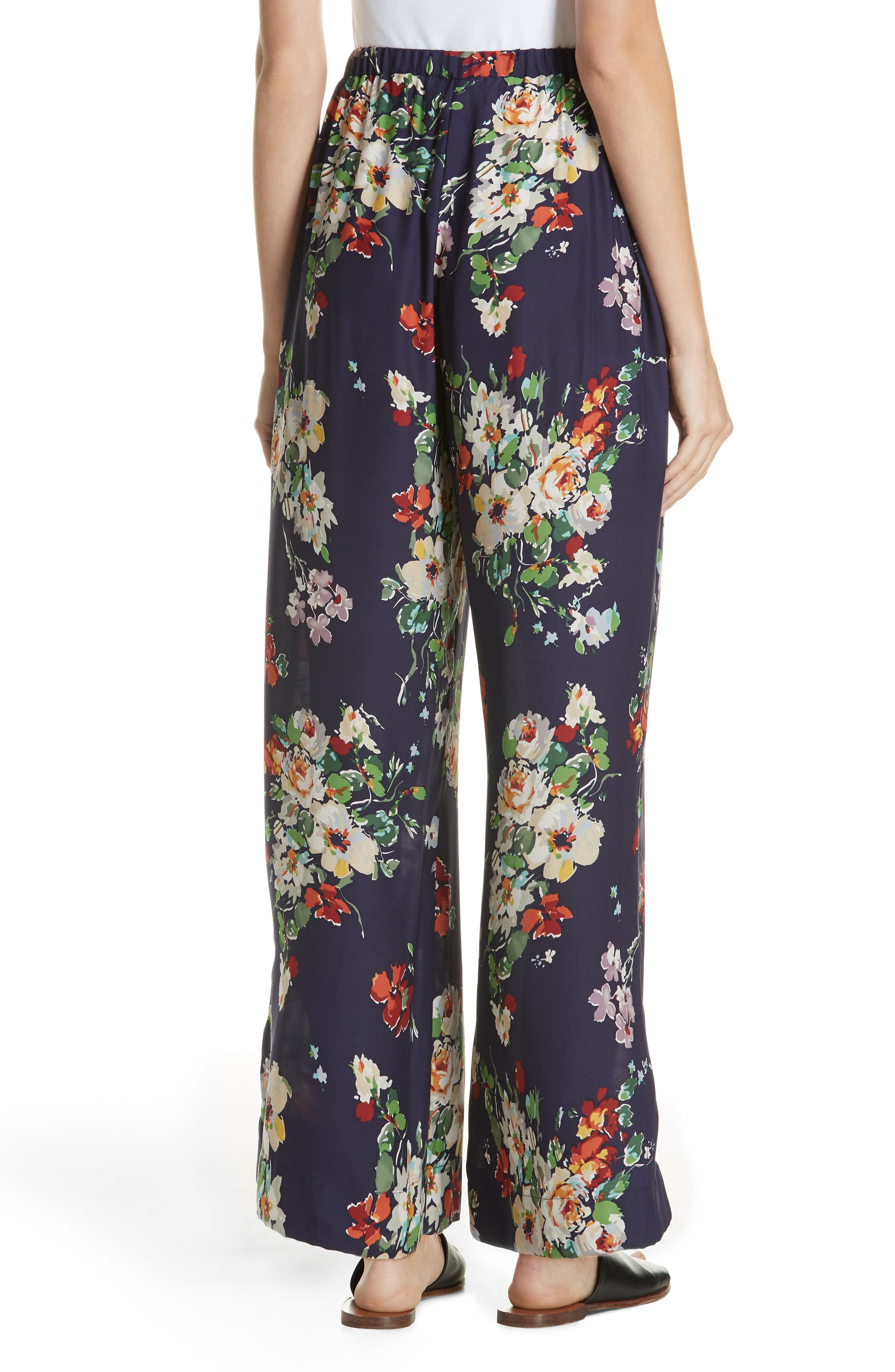 Chaplin Floral Silk Trousers,                             Alternate thumbnail 2, color,                             NIGHTFALL FLORAL PRINT