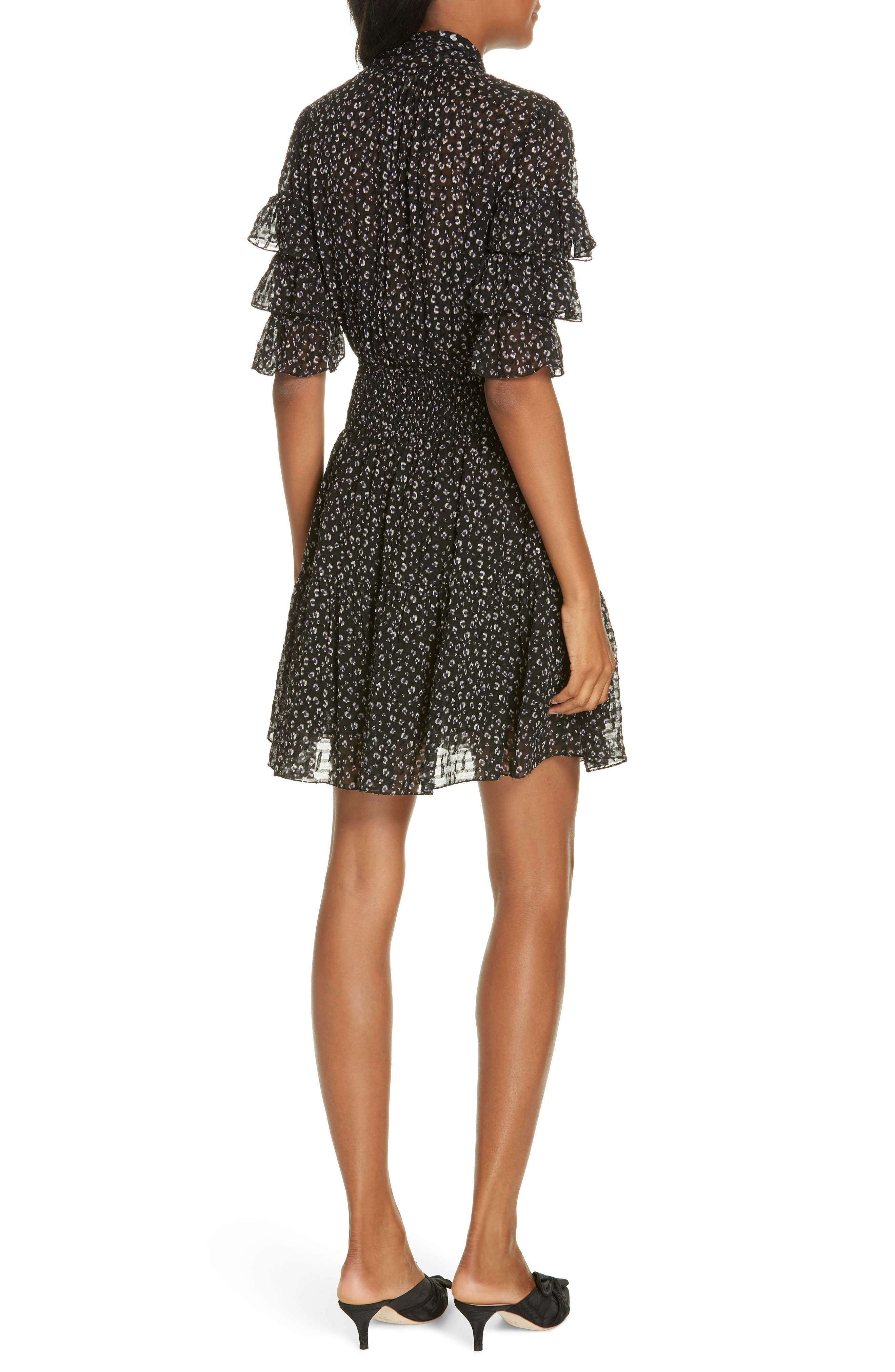 Cheetah Print Silk Blend Dress,                             Alternate thumbnail 2, color,                             BLACK COMBO