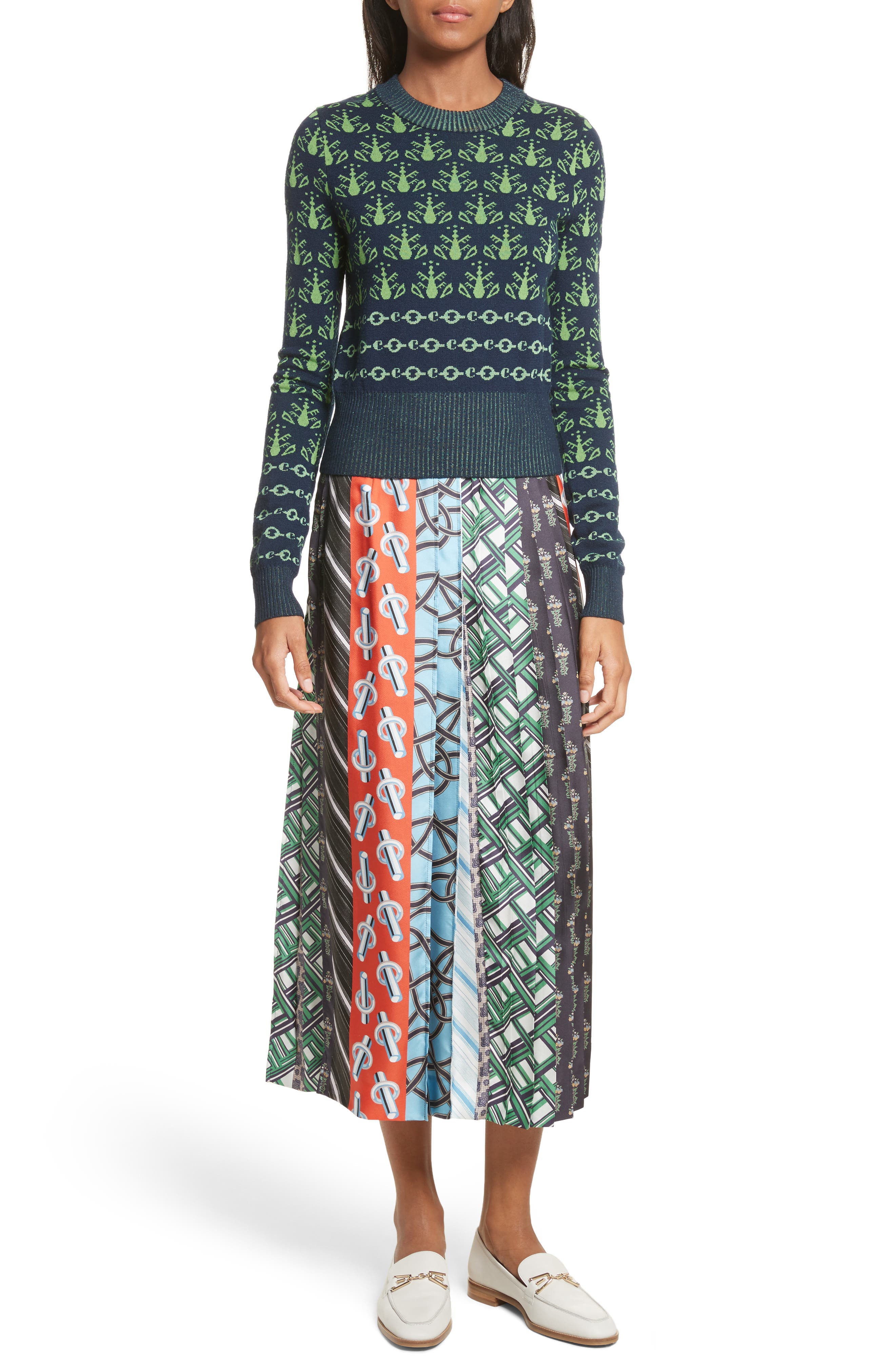 Pleated Mix Print Silk Skirt,                             Alternate thumbnail 7, color,                             003