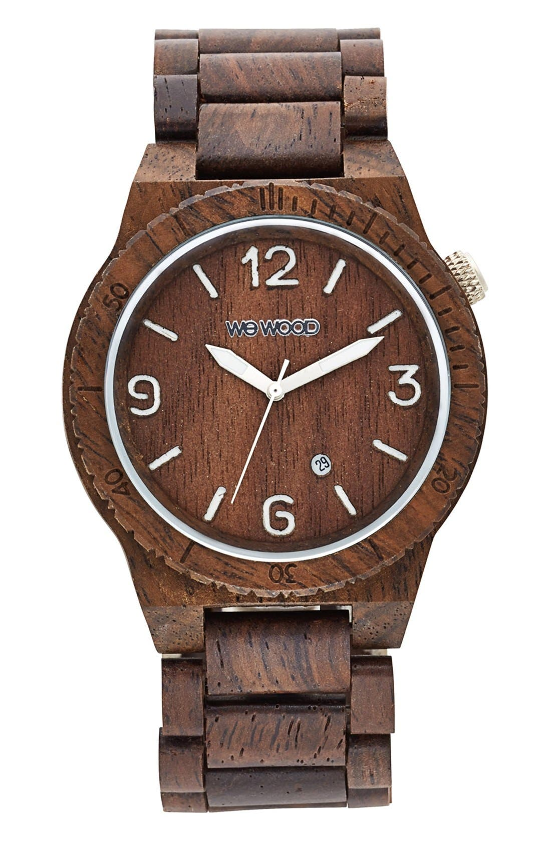 'Alpha' Wood Bracelet Watch, 46mm,                             Main thumbnail 1, color,                             200