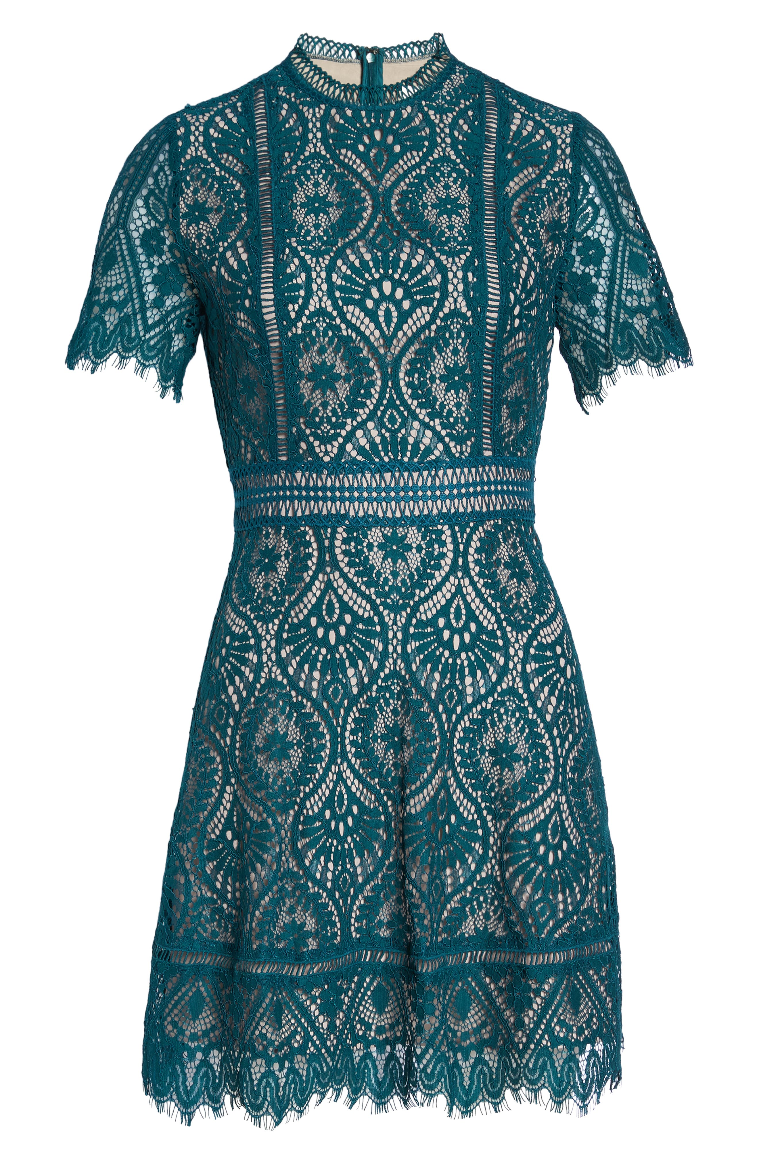 On List Short Sleeve Lace Fit & Flare Dress,                             Alternate thumbnail 7, color,                             301