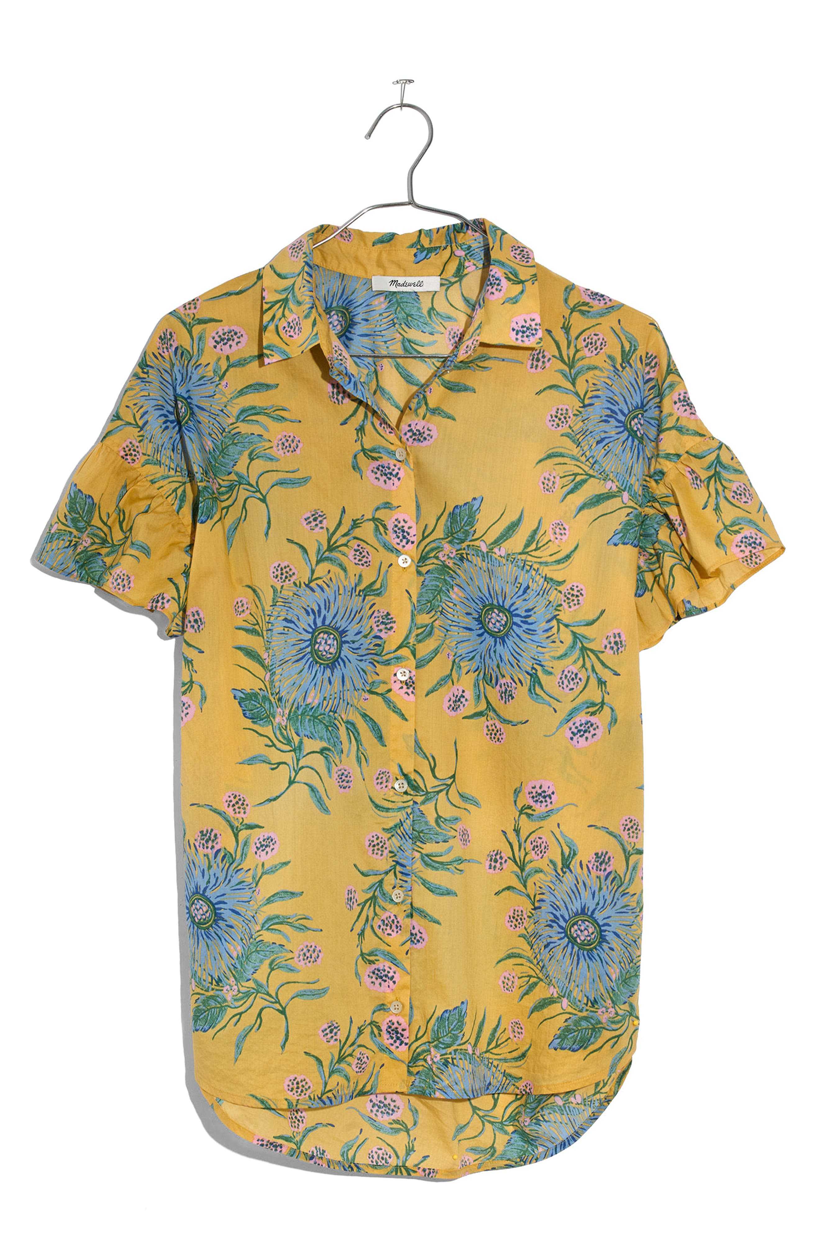 Ruffle Sleeve Button Down Shirt,                             Alternate thumbnail 3, color,