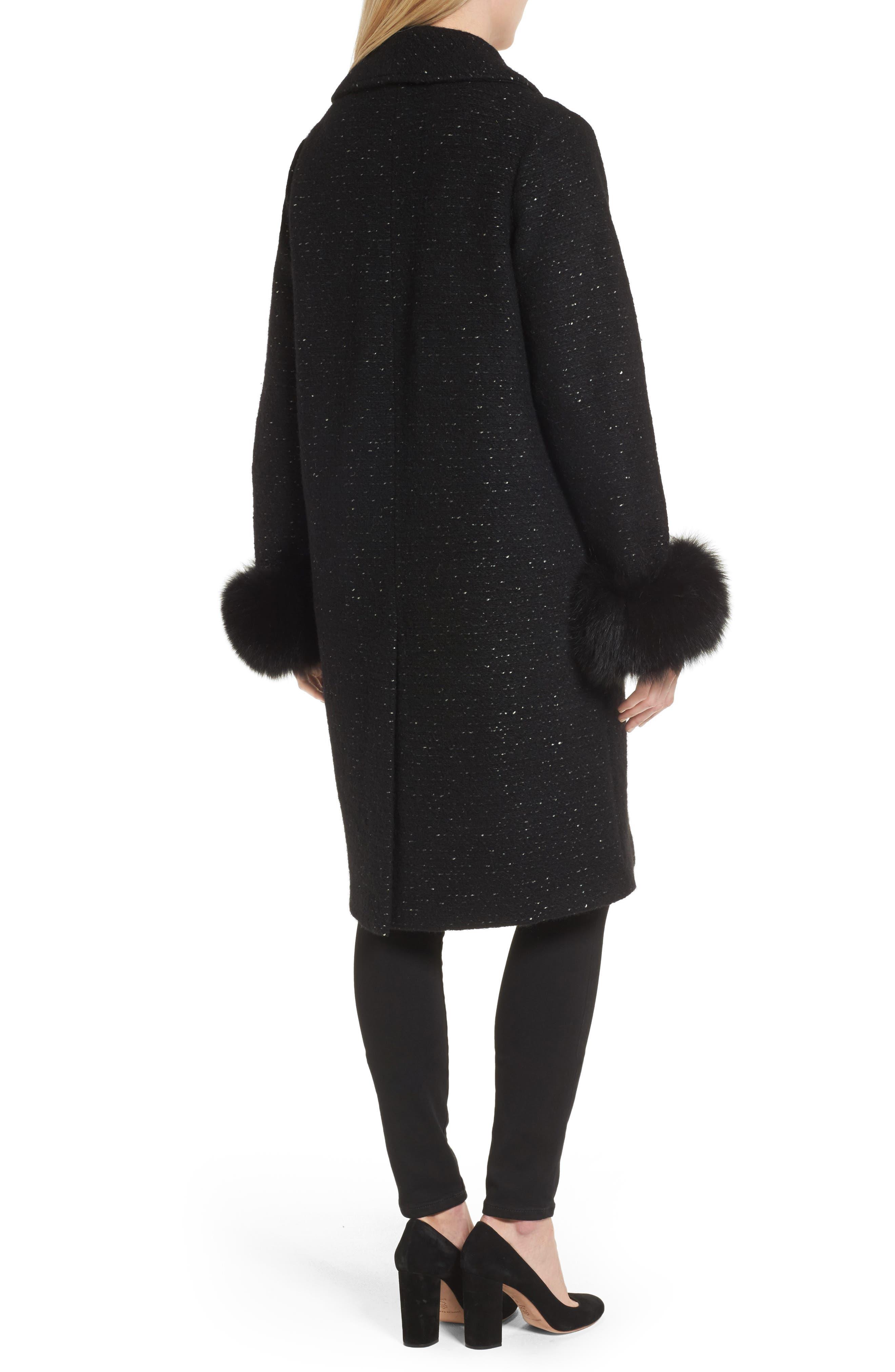 Grace Genuine Fox Fur Trim Knit Wool Blend Long Coat,                             Alternate thumbnail 2, color,                             001