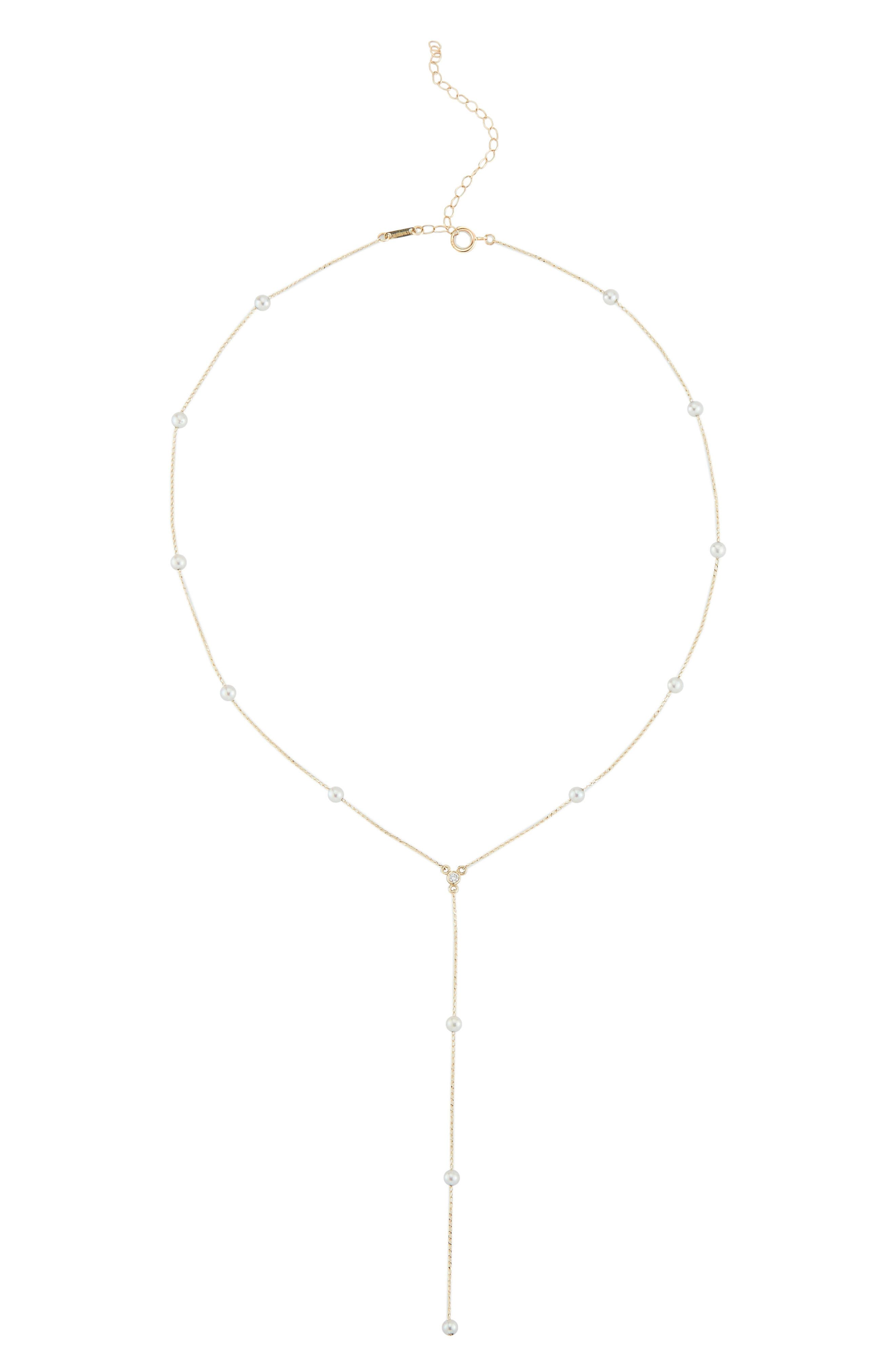Diamond & Pearl Station Necklace,                         Main,                         color, YELLOW GOLD/ PEARL