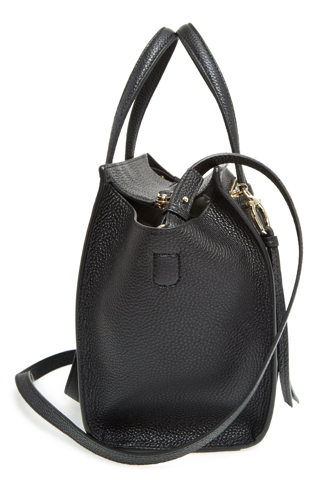 Small Amy Pebbled Leather Tote,                             Alternate thumbnail 5, color,                             NERO
