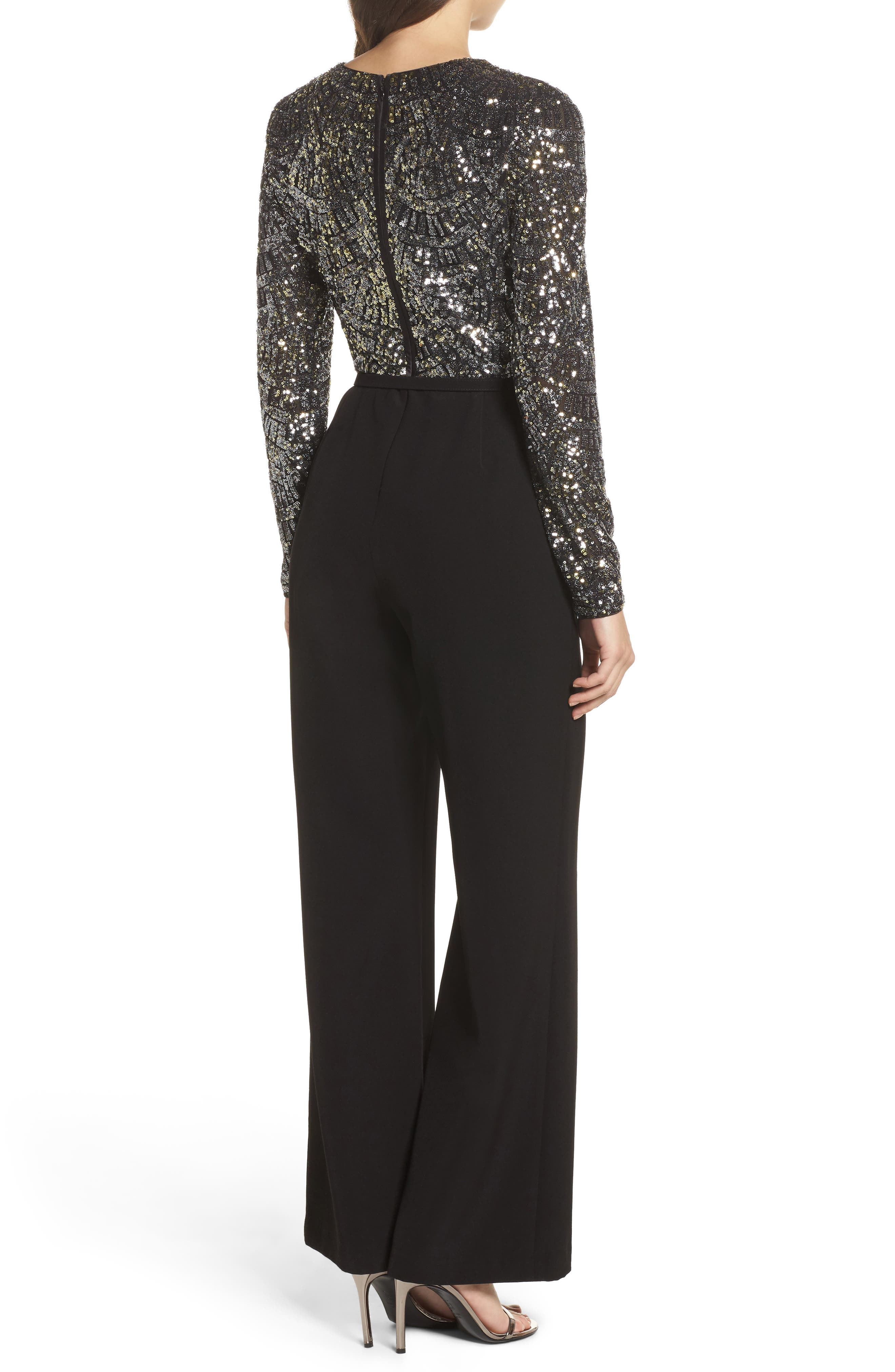 Belted Sequin & Crepe Jumpsuit,                             Alternate thumbnail 2, color,                             046