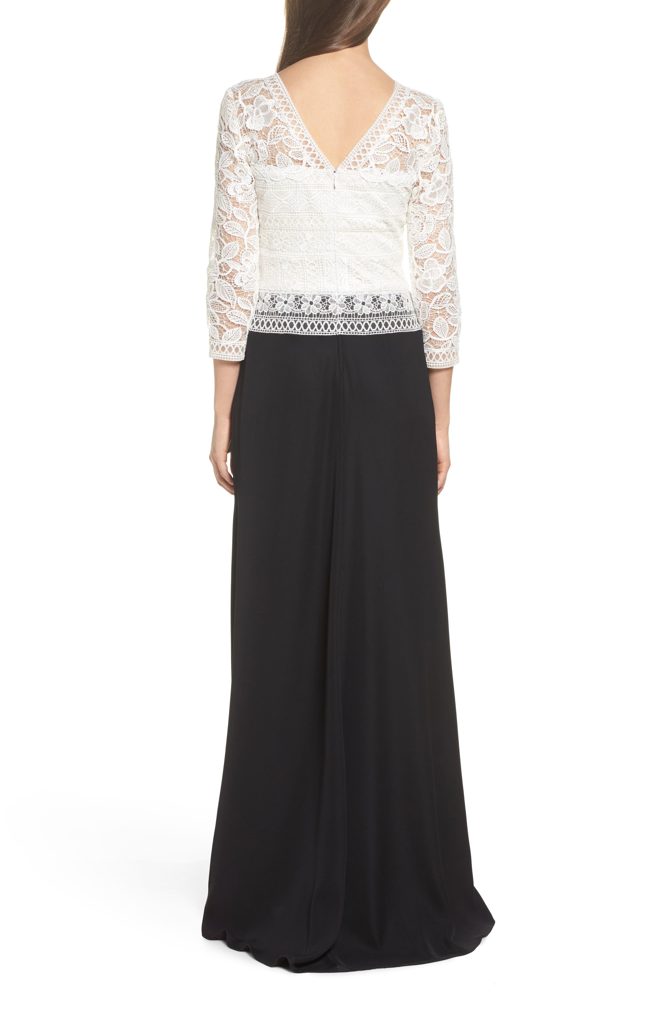 Lace & Crepe A-Line Gown,                             Alternate thumbnail 2, color,                             002