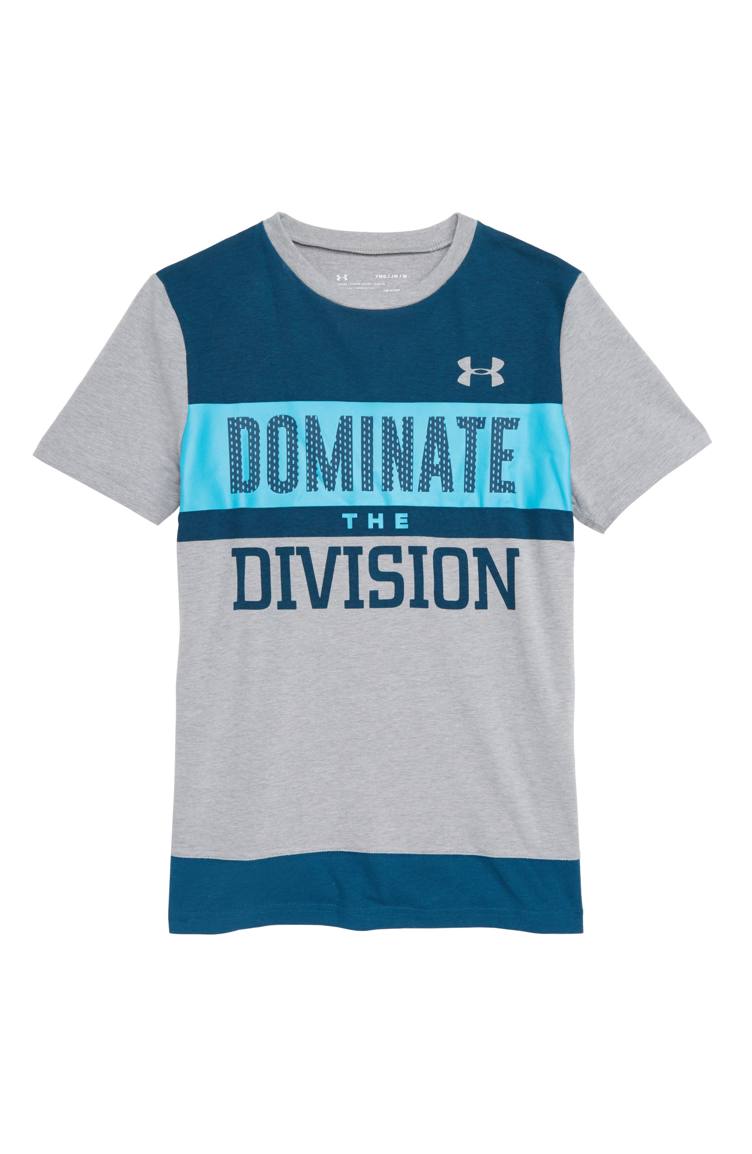 Dominate the Division HeatGear<sup>®</sup> T-Shirt,                             Main thumbnail 1, color,                             HEATHER/ TECHNO TEAL