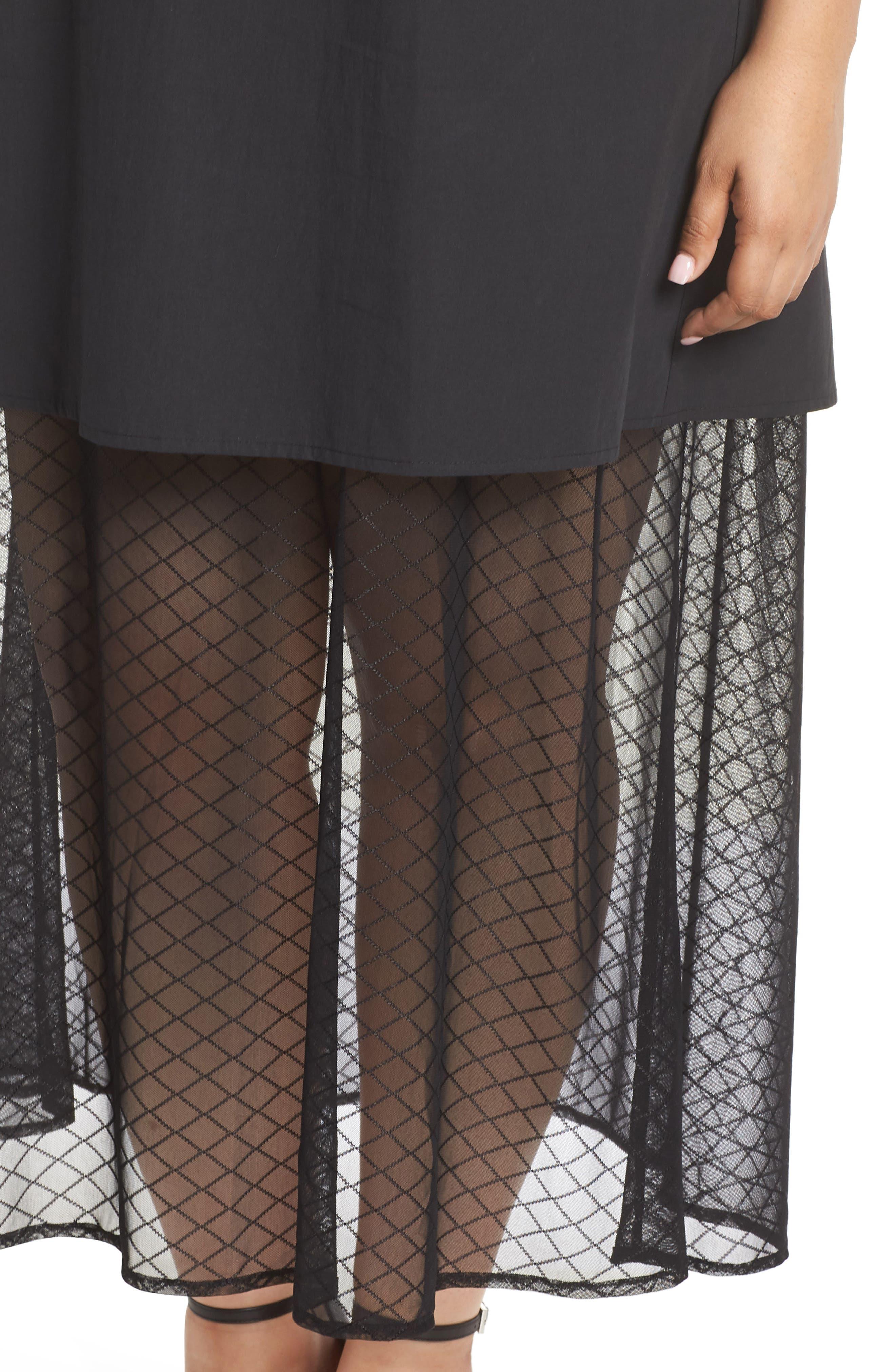 The Agata Sheer Hem Maxi Dress,                             Alternate thumbnail 4, color,                             BLACK