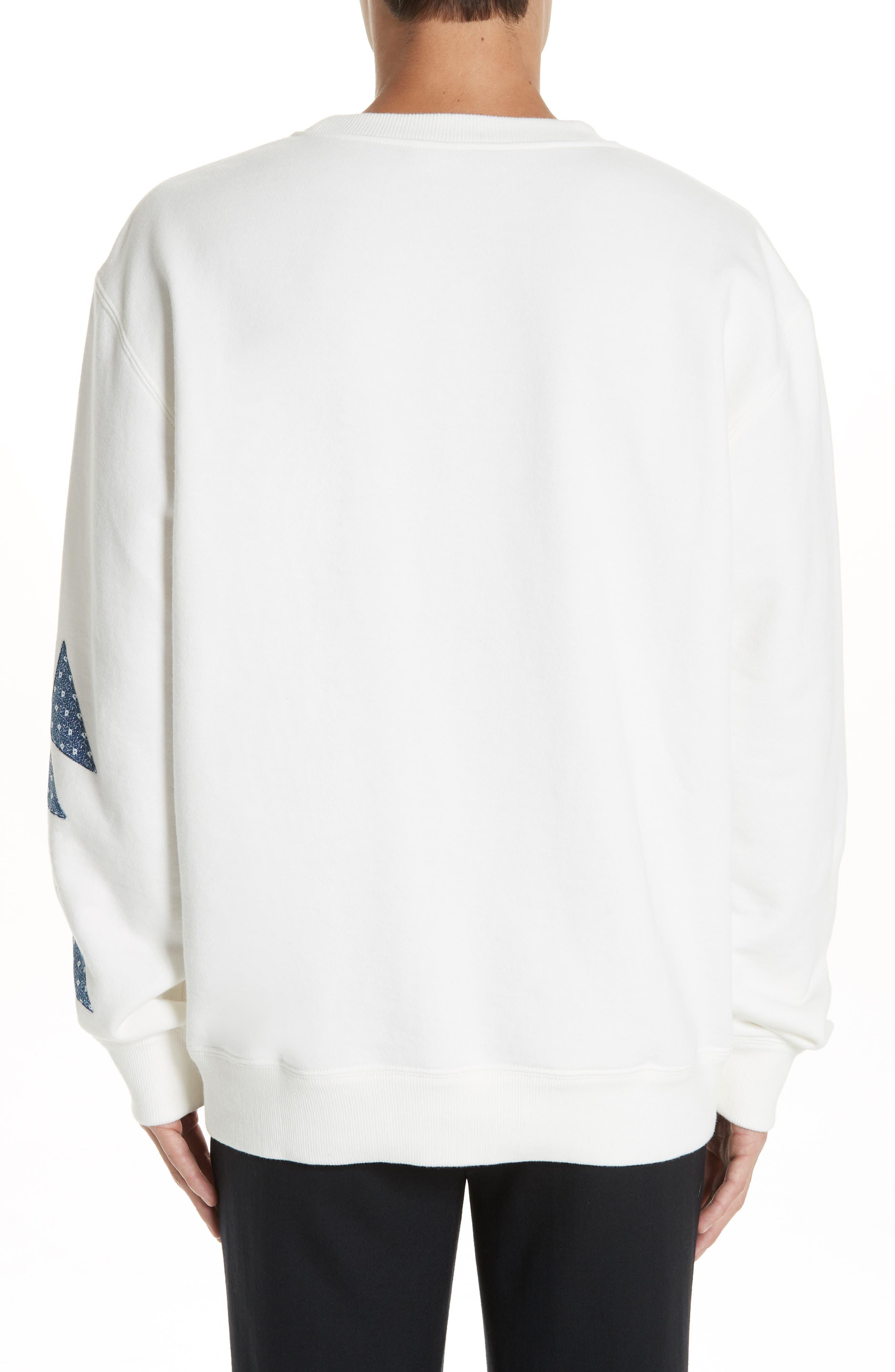 Oversize Patchwork Detail Sweatshirt,                             Alternate thumbnail 2, color,                             OFF WHITE