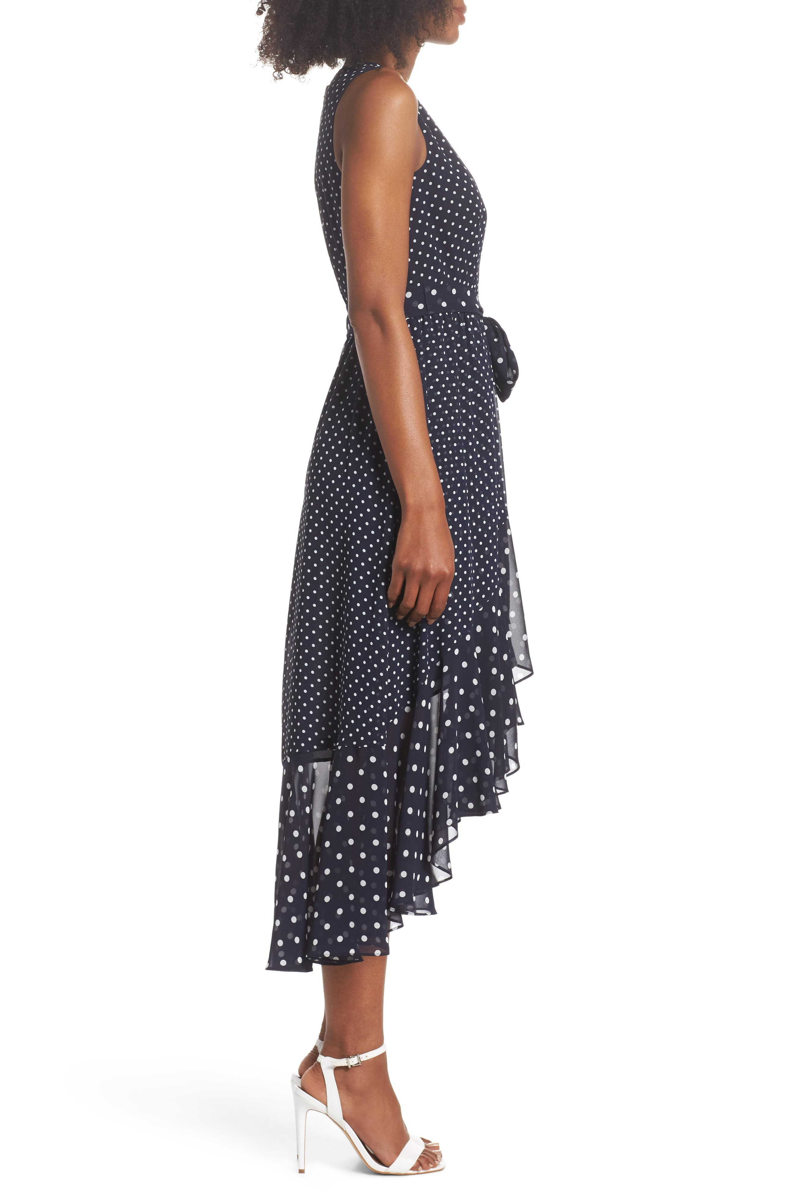 ELIZA J,                             Polka Dot High/Low Hem Dress,                             Alternate thumbnail 3, color,                             407