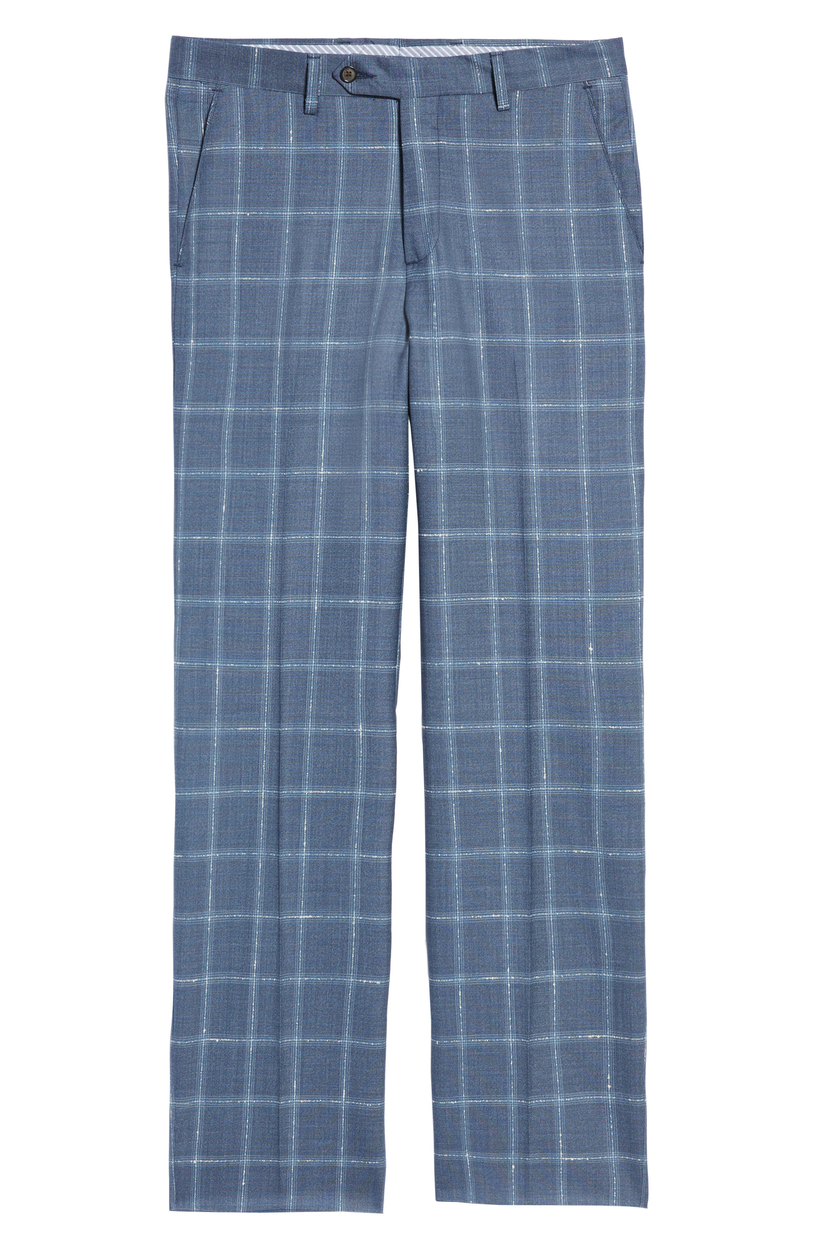 Manufacturing Flat Front Plaid Wool Trousers,                             Alternate thumbnail 6, color,                             NAVY