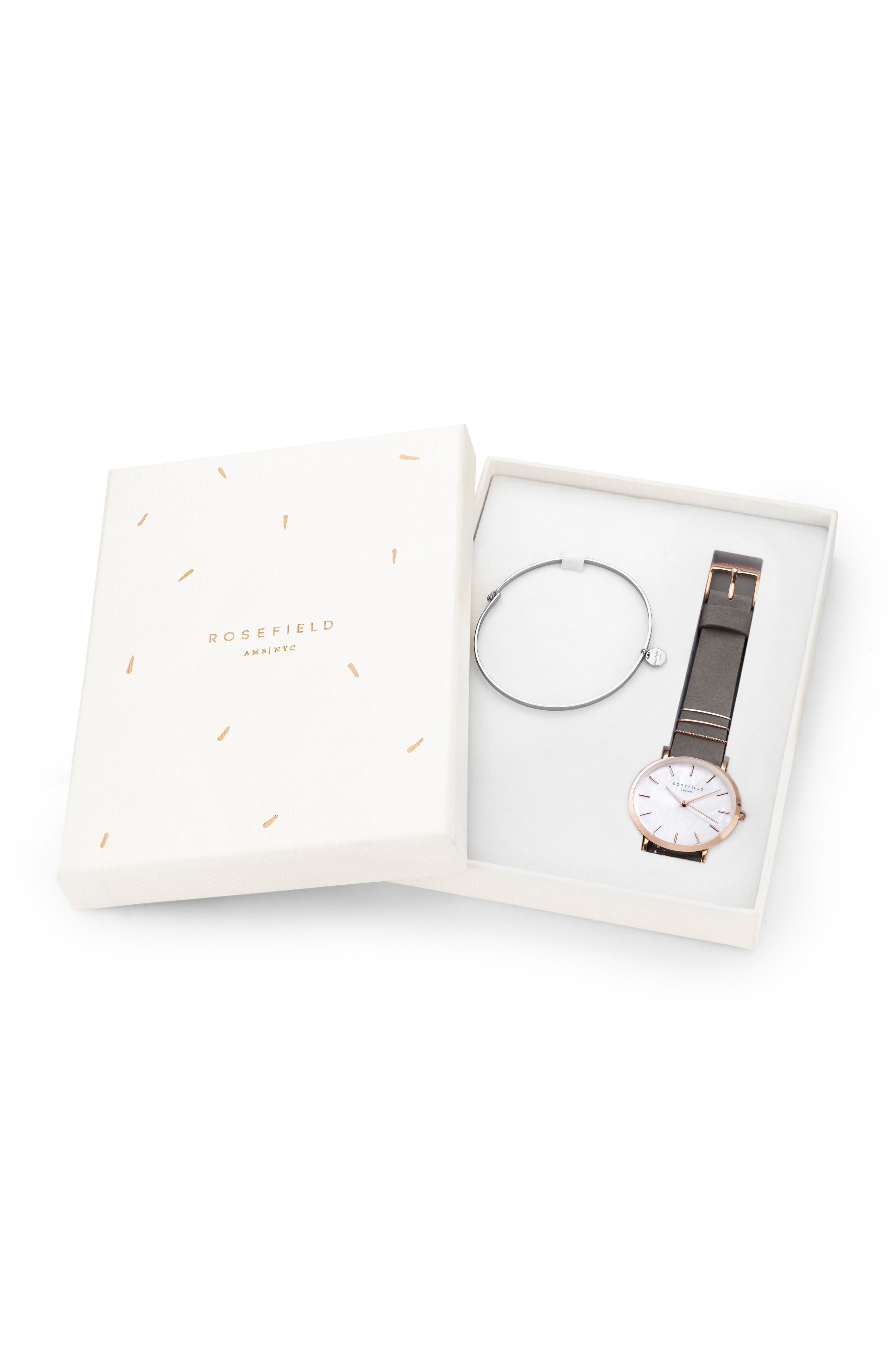 Holiday Leather Strap Watch & Bracelet Gift Set, 33mm,                             Alternate thumbnail 4, color,                             GREY/ ROSE GOLD/ SILVER