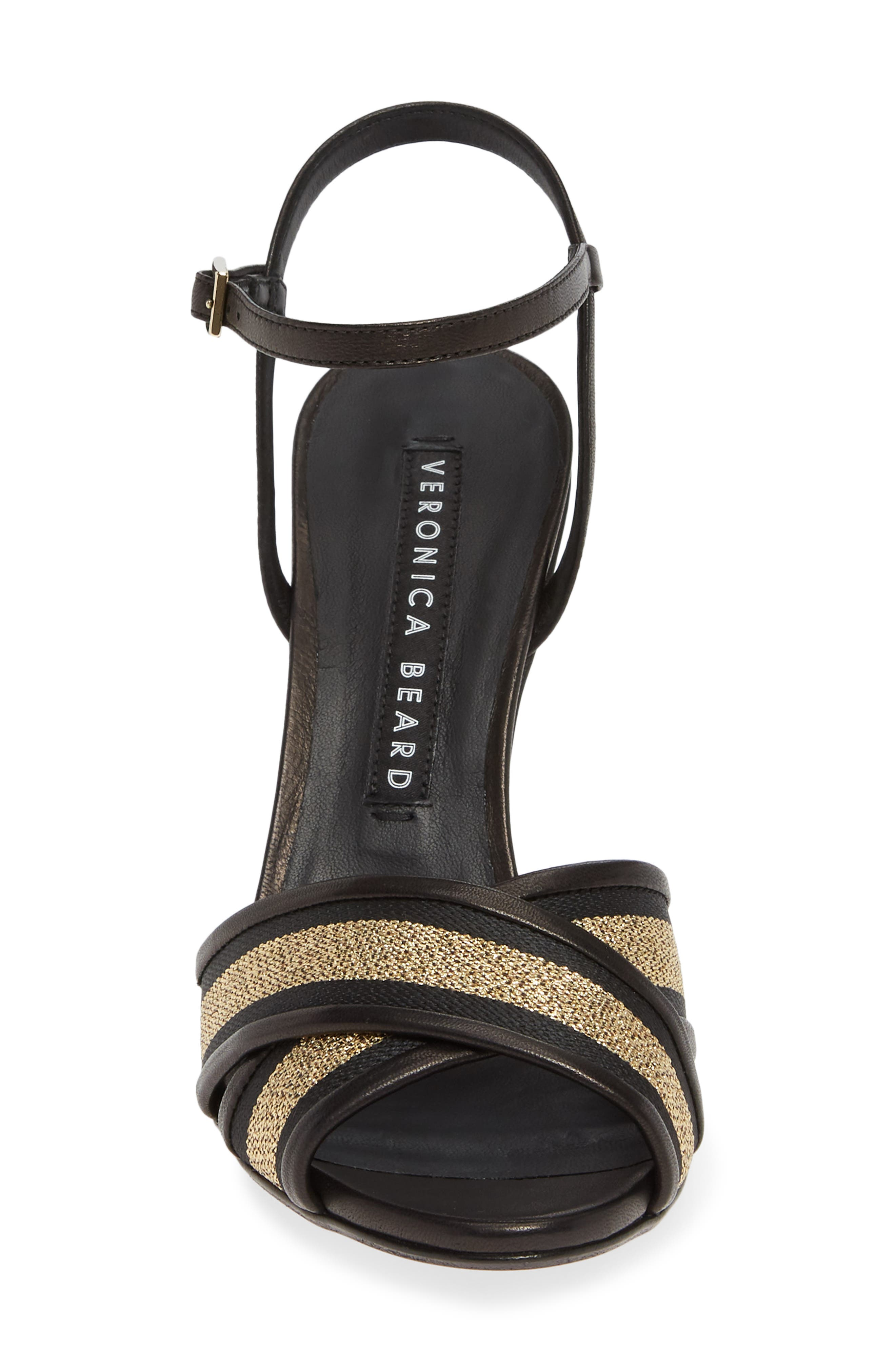VERONICA BEARD,                             Olympia Quarter Strap Sandal,                             Alternate thumbnail 4, color,                             BLACK/ GOLD