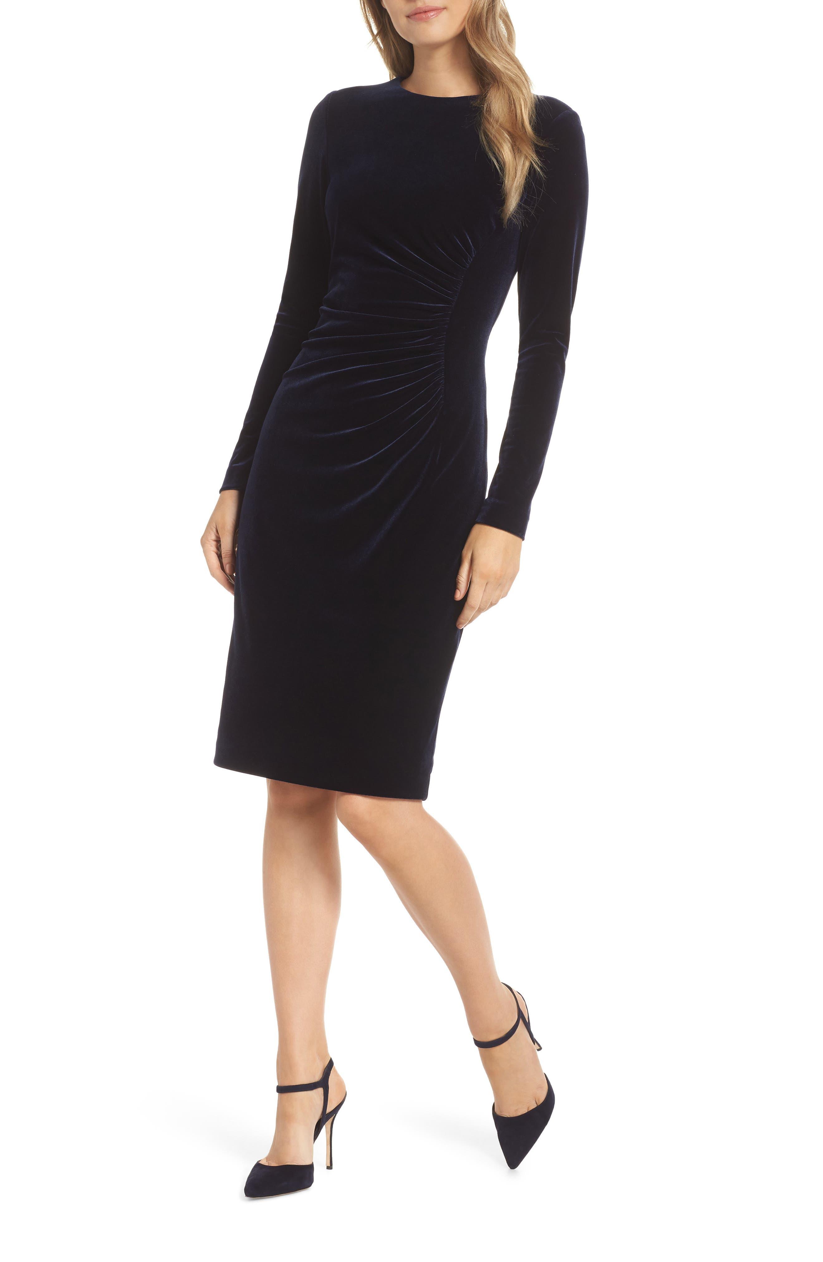 Petite Harper Rose Long Sleeve Body-Con Dress, Blue