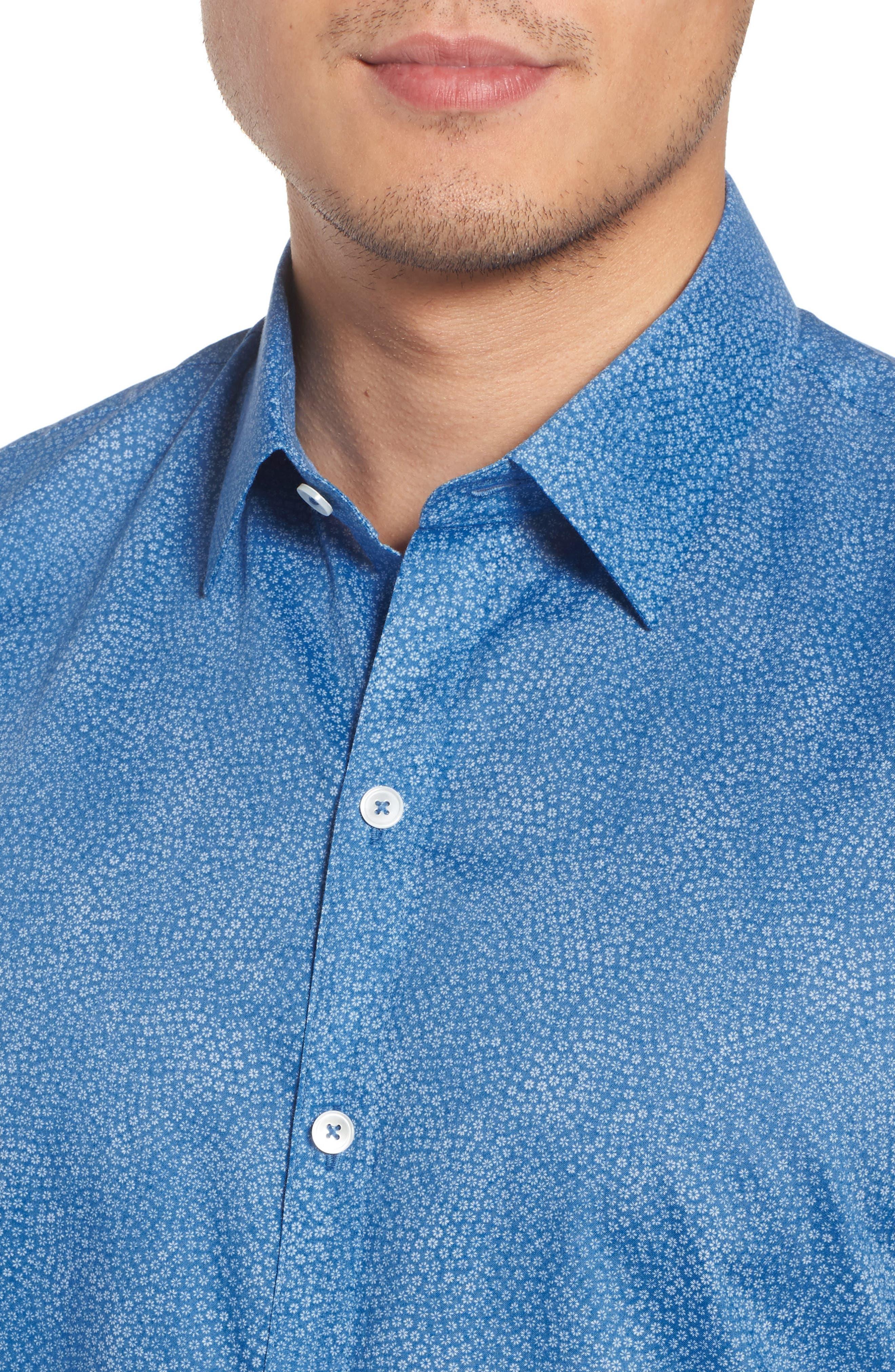 Siguenza Floral Short Sleeve Sport Shirt,                             Alternate thumbnail 4, color,                             400