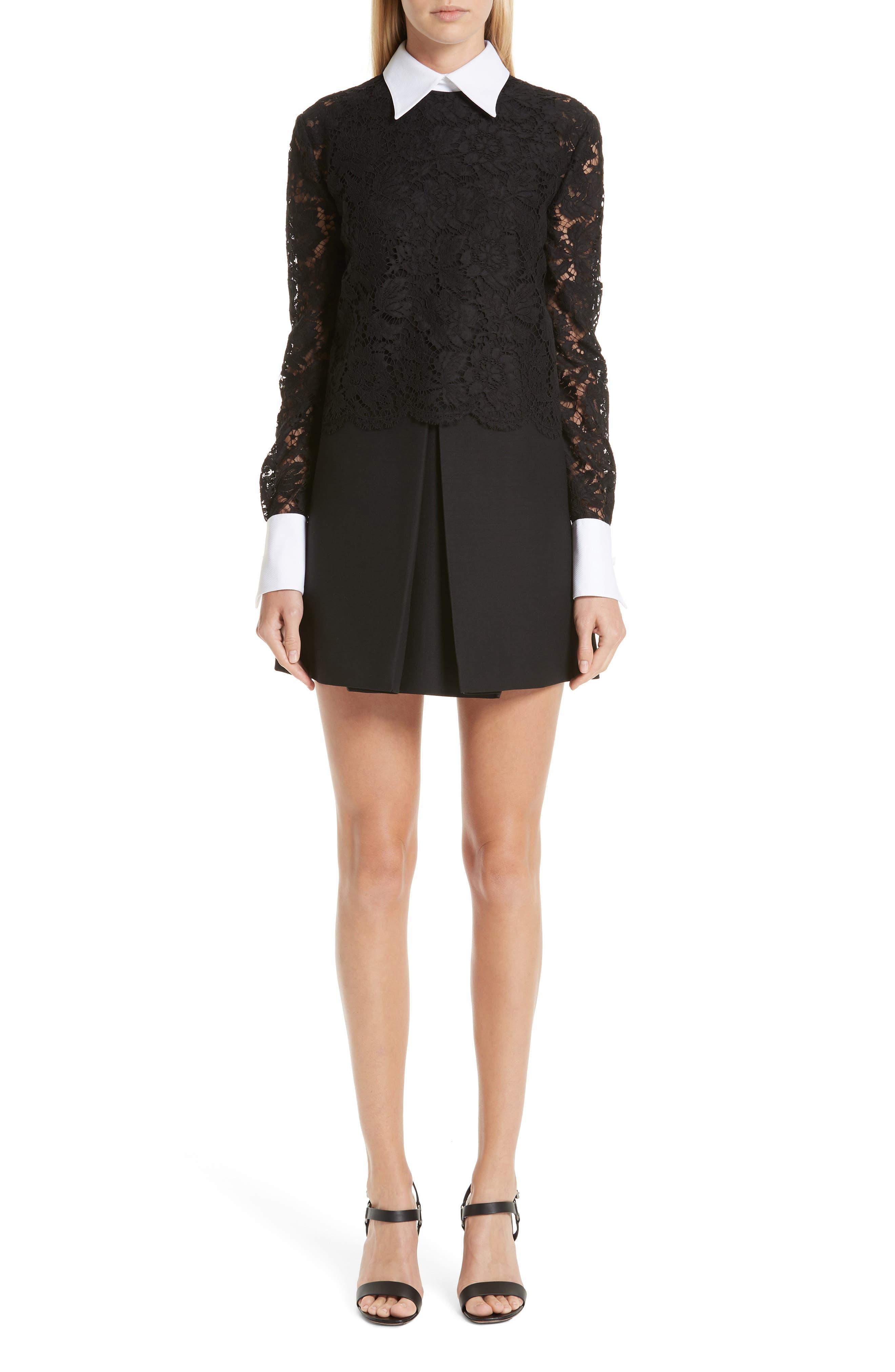 Contrast Collar Lace & Crepe Couture Dress, Main, color, BLACK
