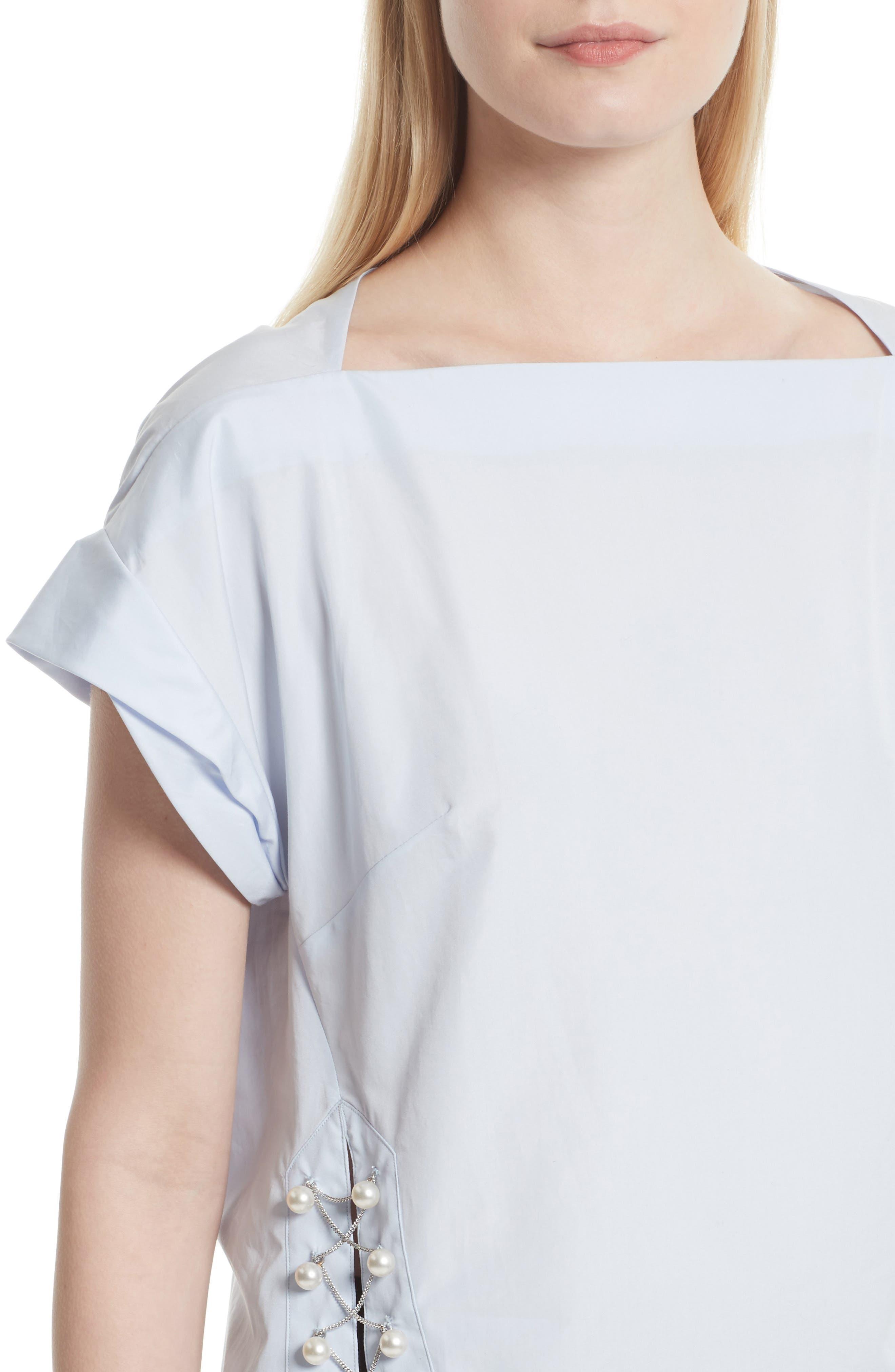 Faux Pearl & Chain Lacing Cotton Top,                             Alternate thumbnail 4, color,                             450