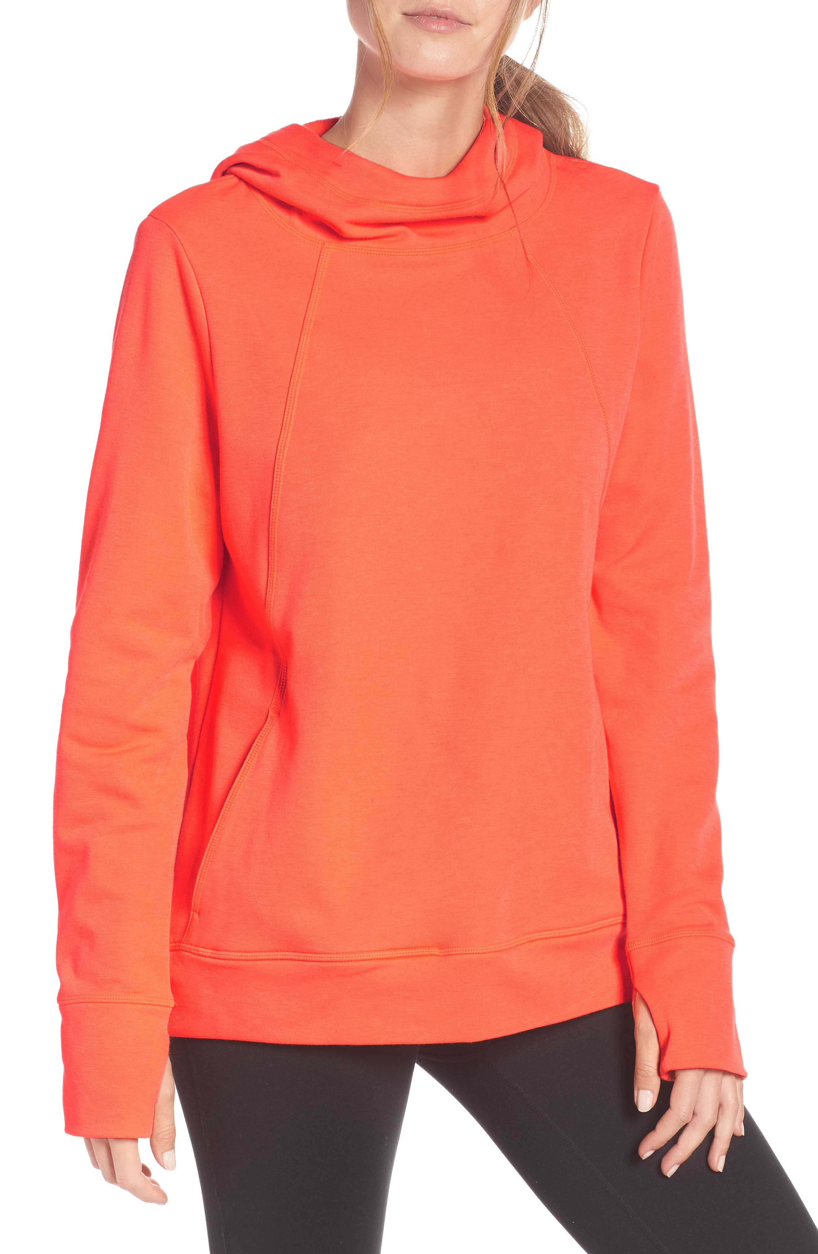 Pleated Tech Run Hoodie,                         Main,                         color, CORAL