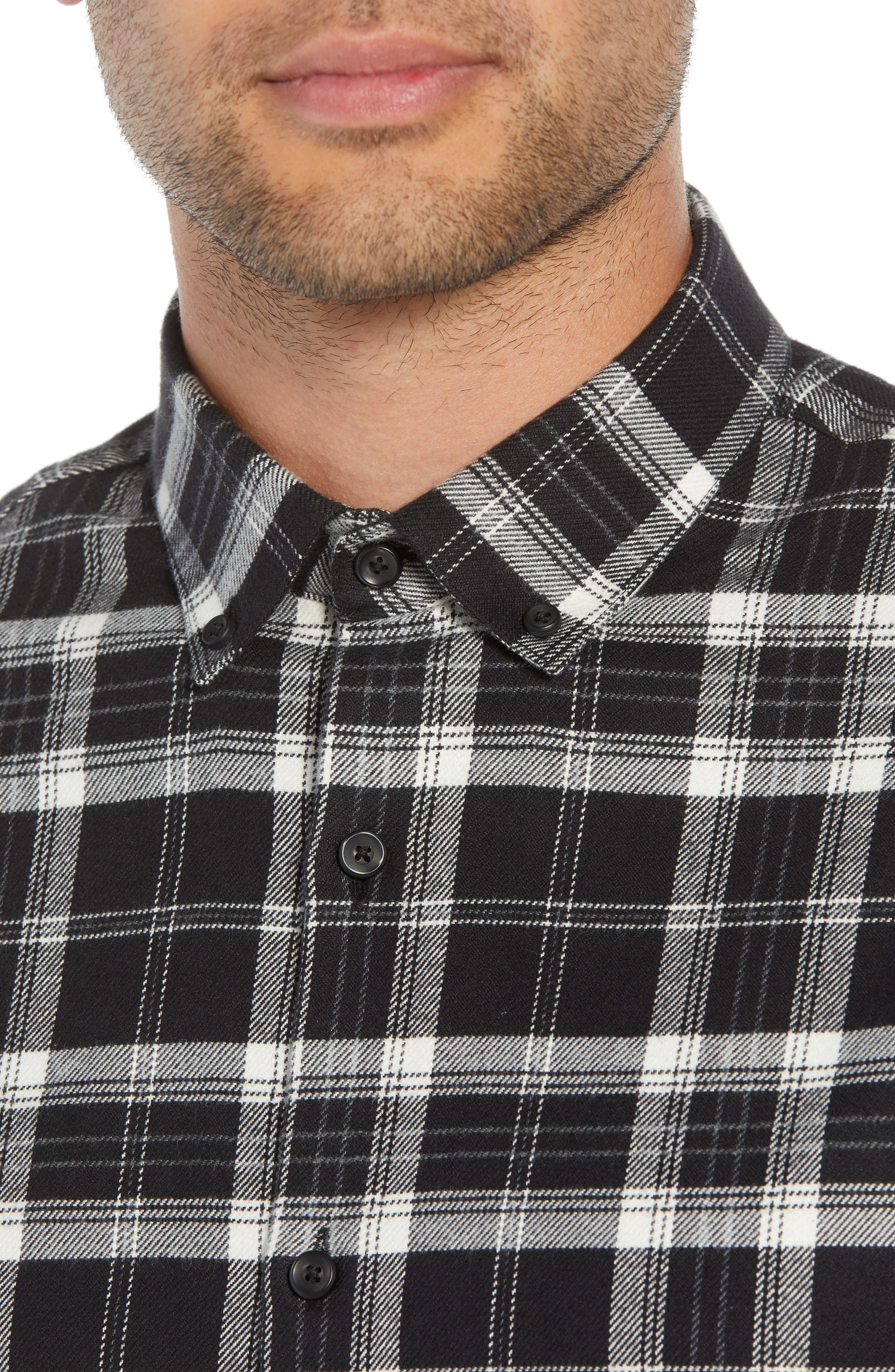 Slim Fit Mini Collar Plaid Flannel Sport Shirt,                             Alternate thumbnail 4, color,                             001