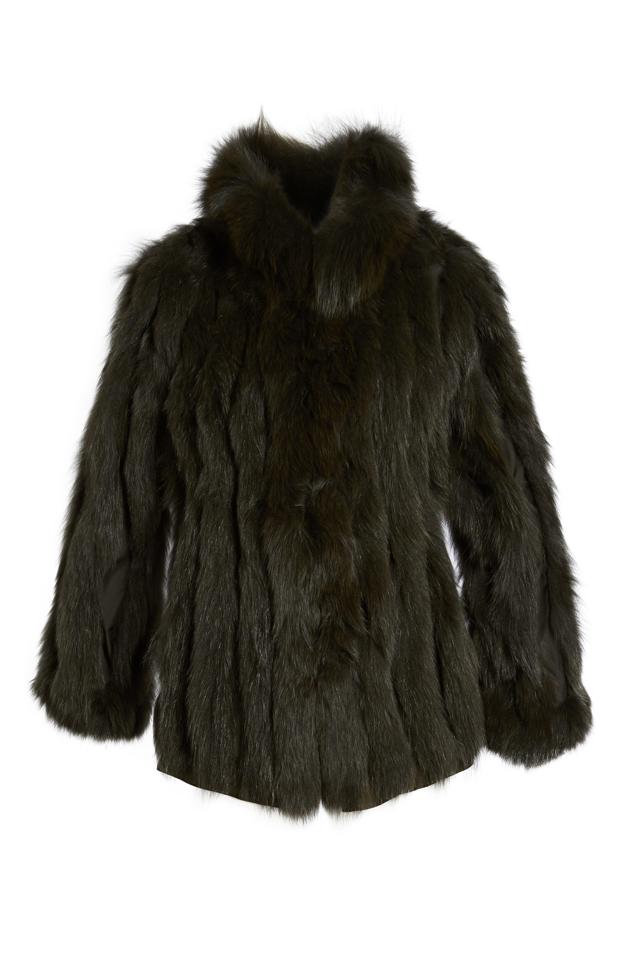 GeorgeSimonton Reversible Silk & Genuine Fox Fur Topper,                             Alternate thumbnail 21, color,