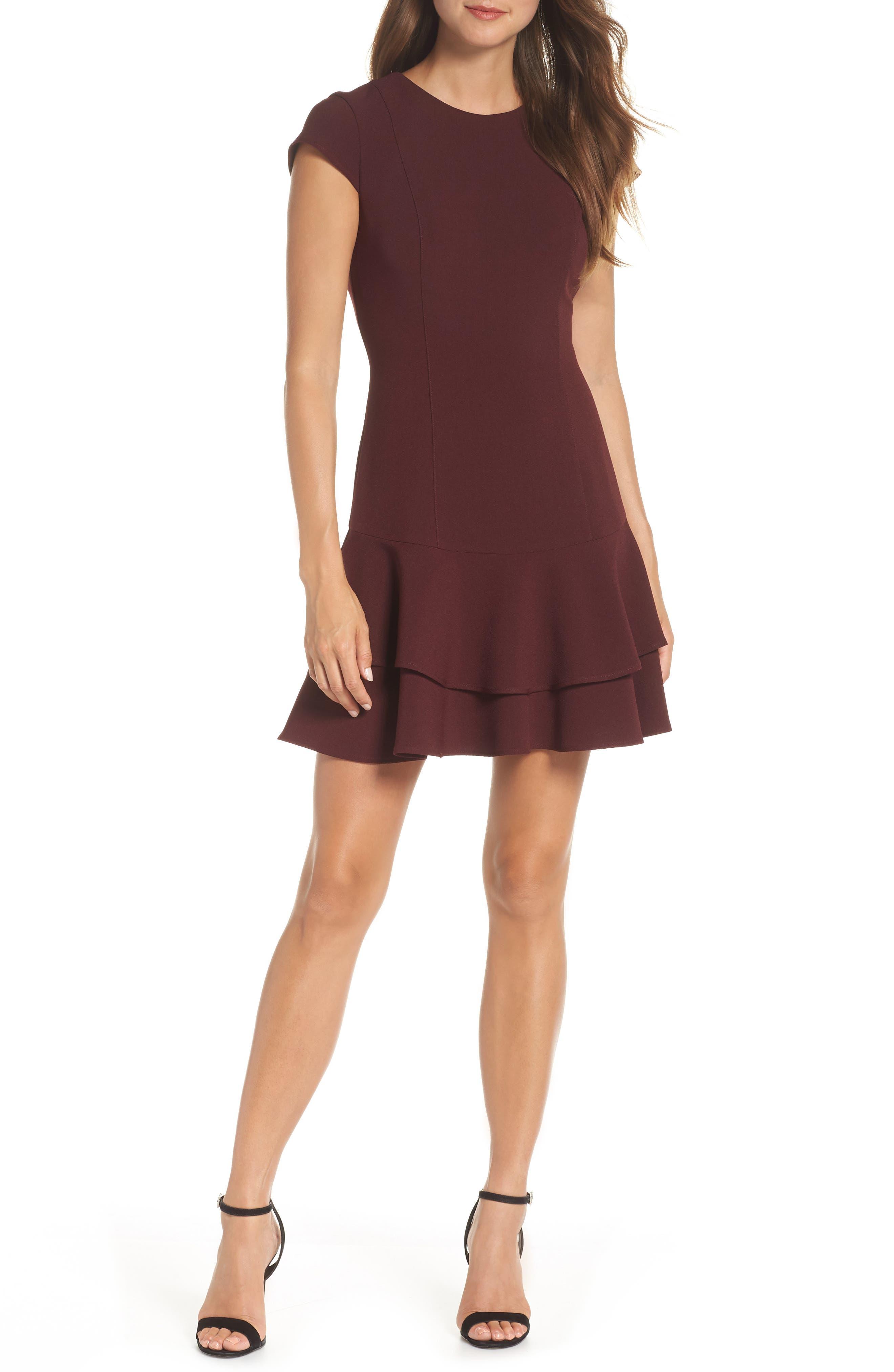 women's eliza j stretch ruffle crepe sheath dress, size 2 - purple