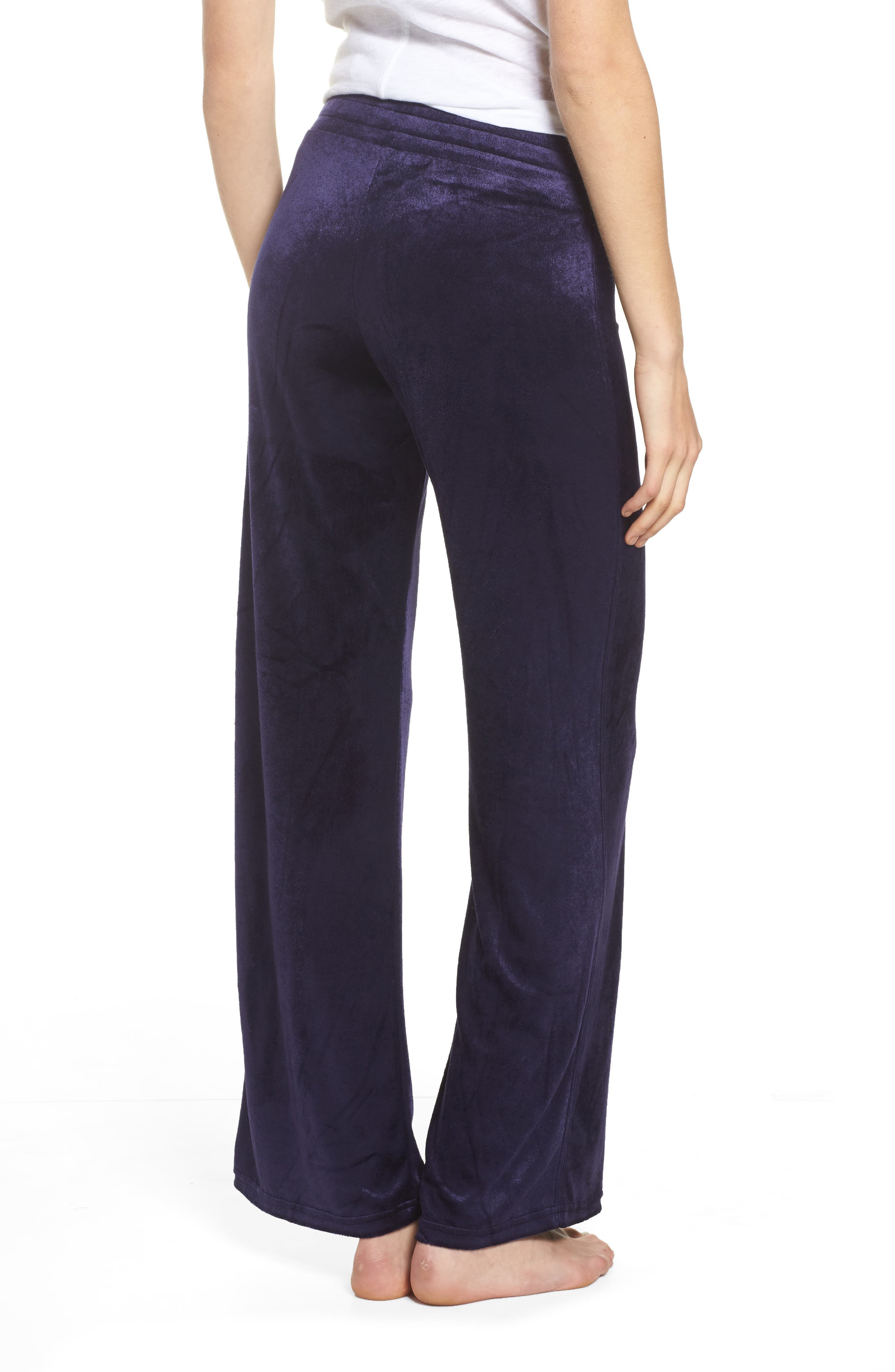 Paris Wide Leg Velour Pants,                             Alternate thumbnail 4, color,