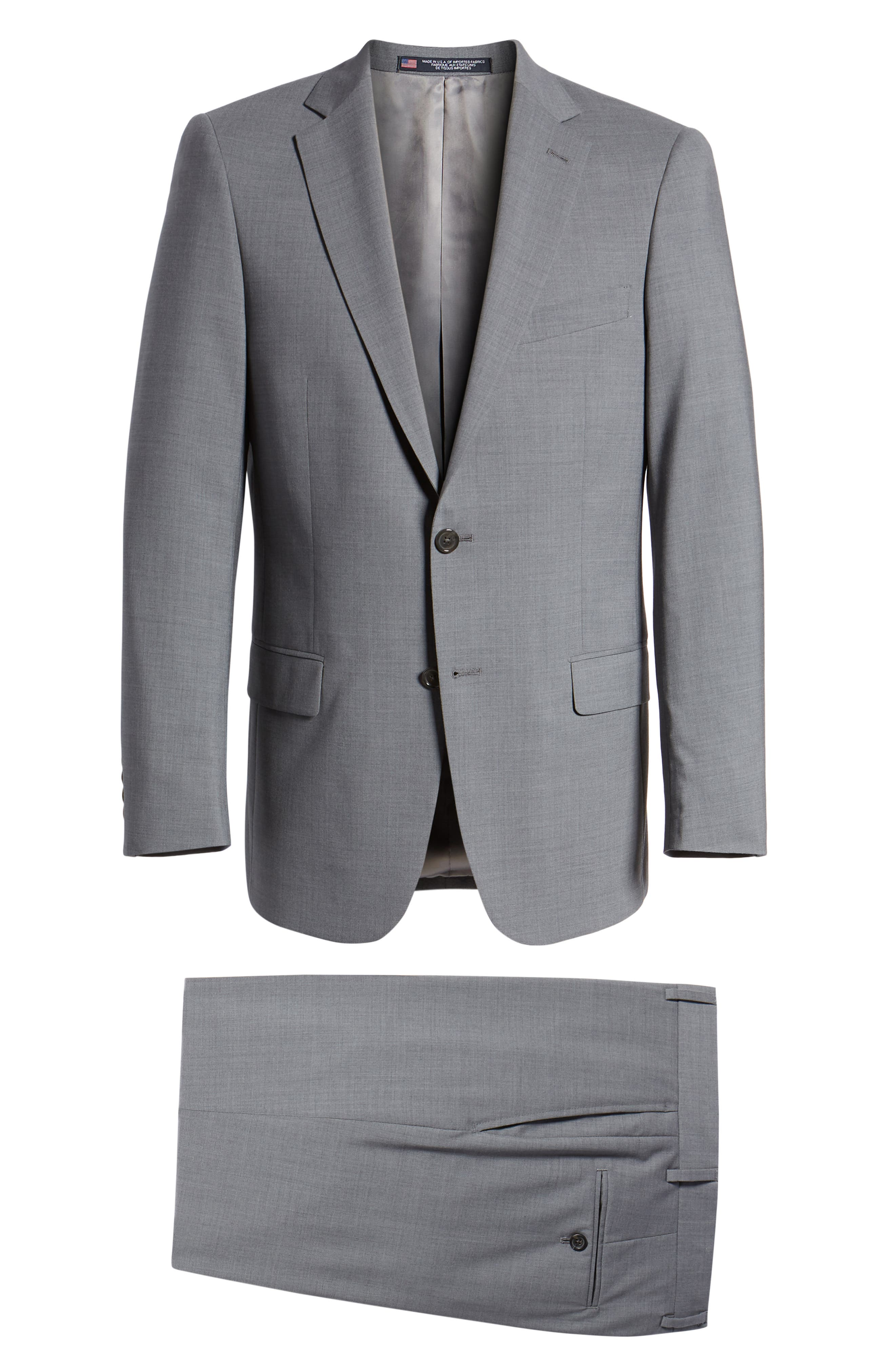 Classic Fit Solid Stretch Wool Suit,                             Alternate thumbnail 8, color,
