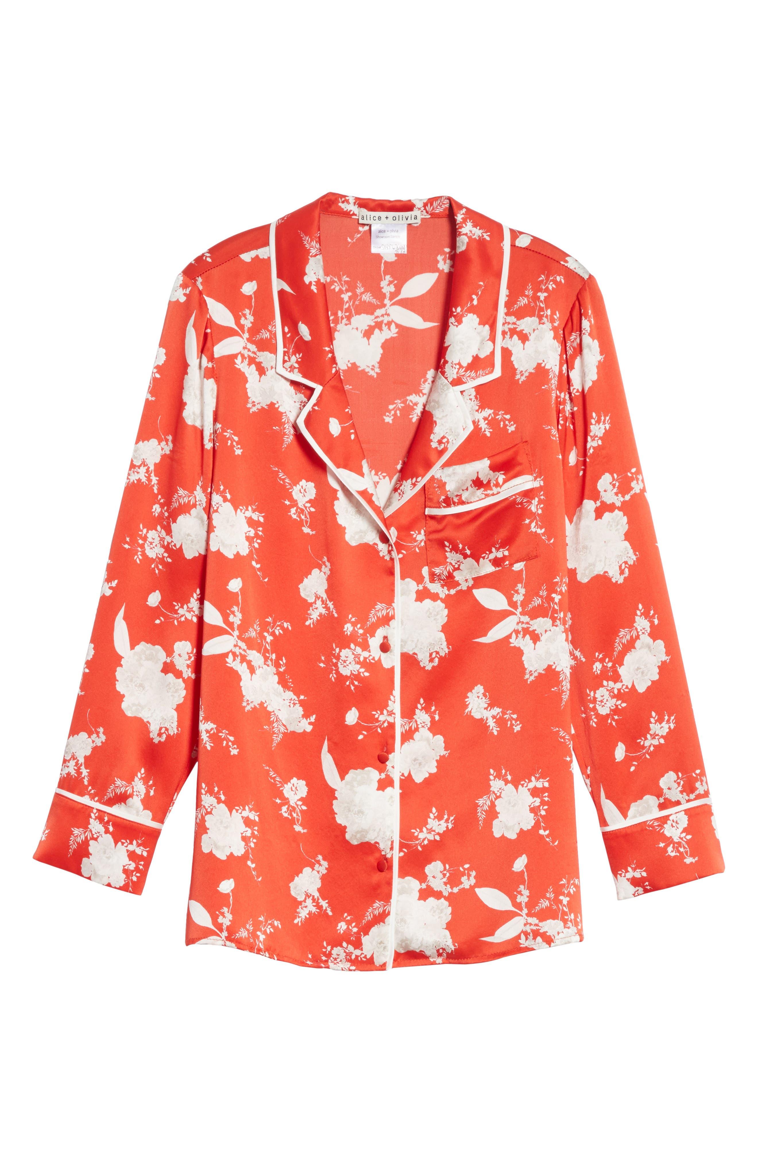 Keir Floral Silk Pajama Shirt,                             Alternate thumbnail 6, color,                             606