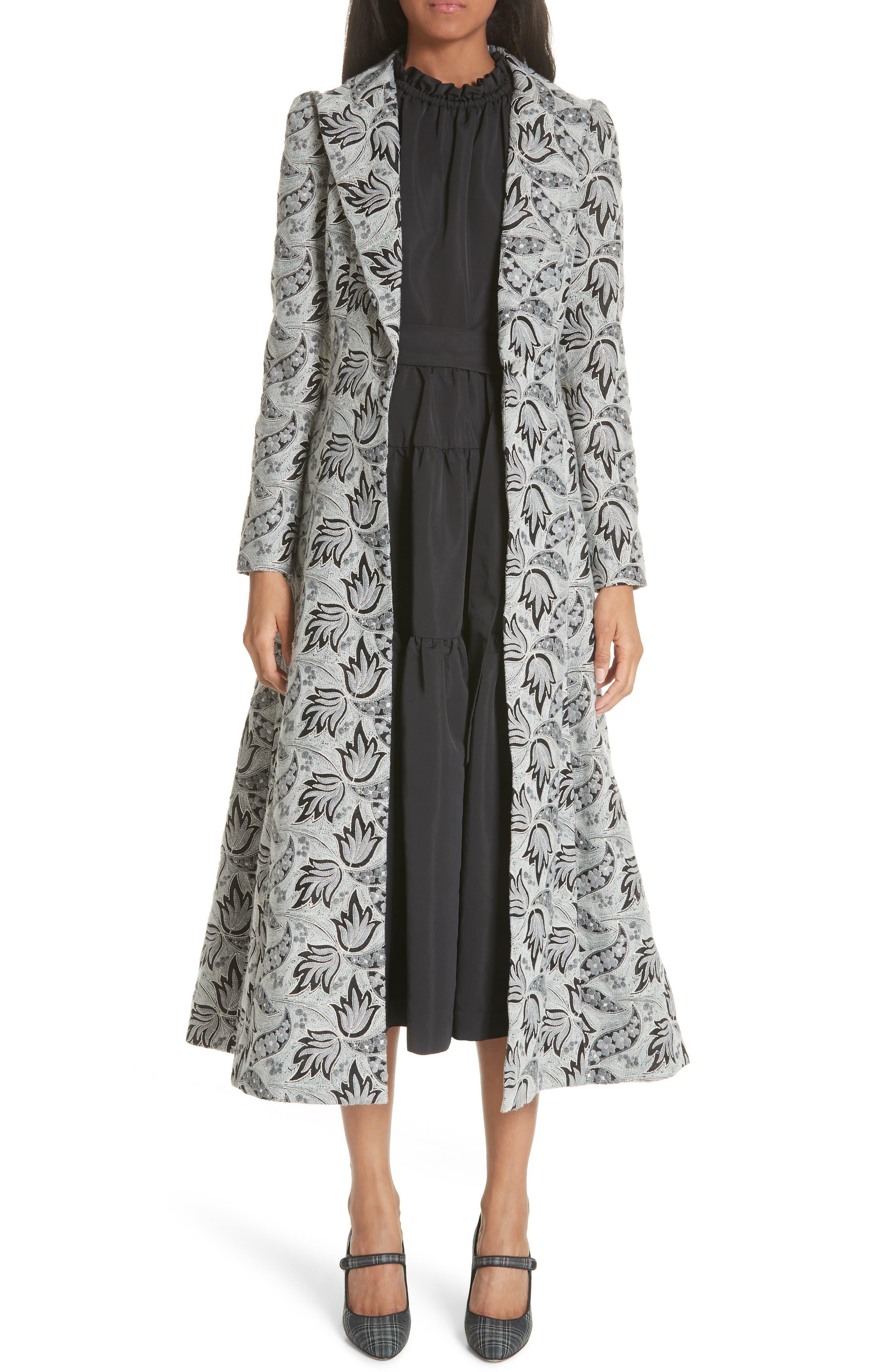 Vintage Coats & Jackets | Retro Coats and Jackets Womens Co Long Embroidered Jacquard Coat Size Medium - Grey $1,796.98 AT vintagedancer.com