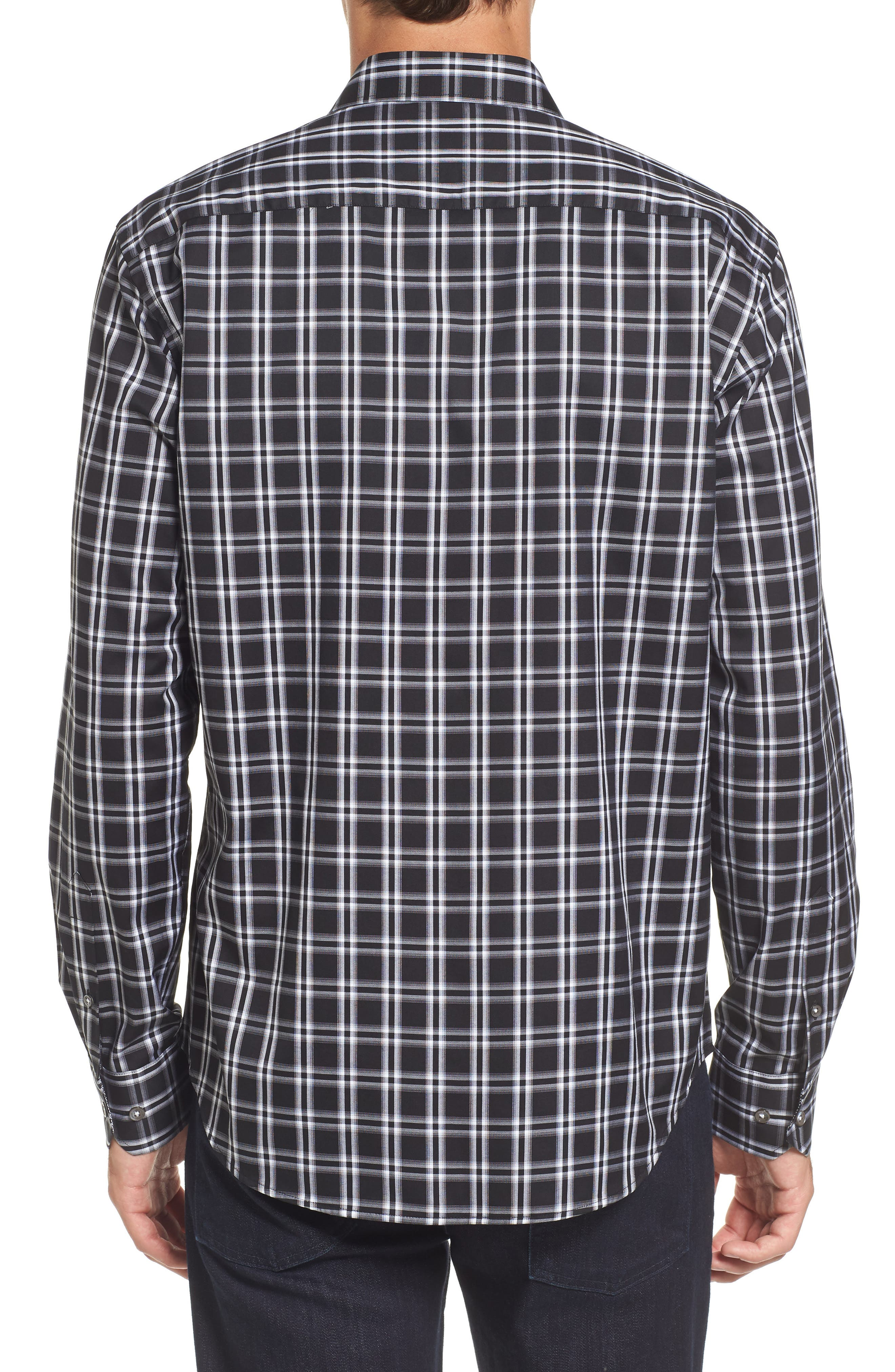 Slim Fit Check Sport Shirt,                             Alternate thumbnail 2, color,                             001