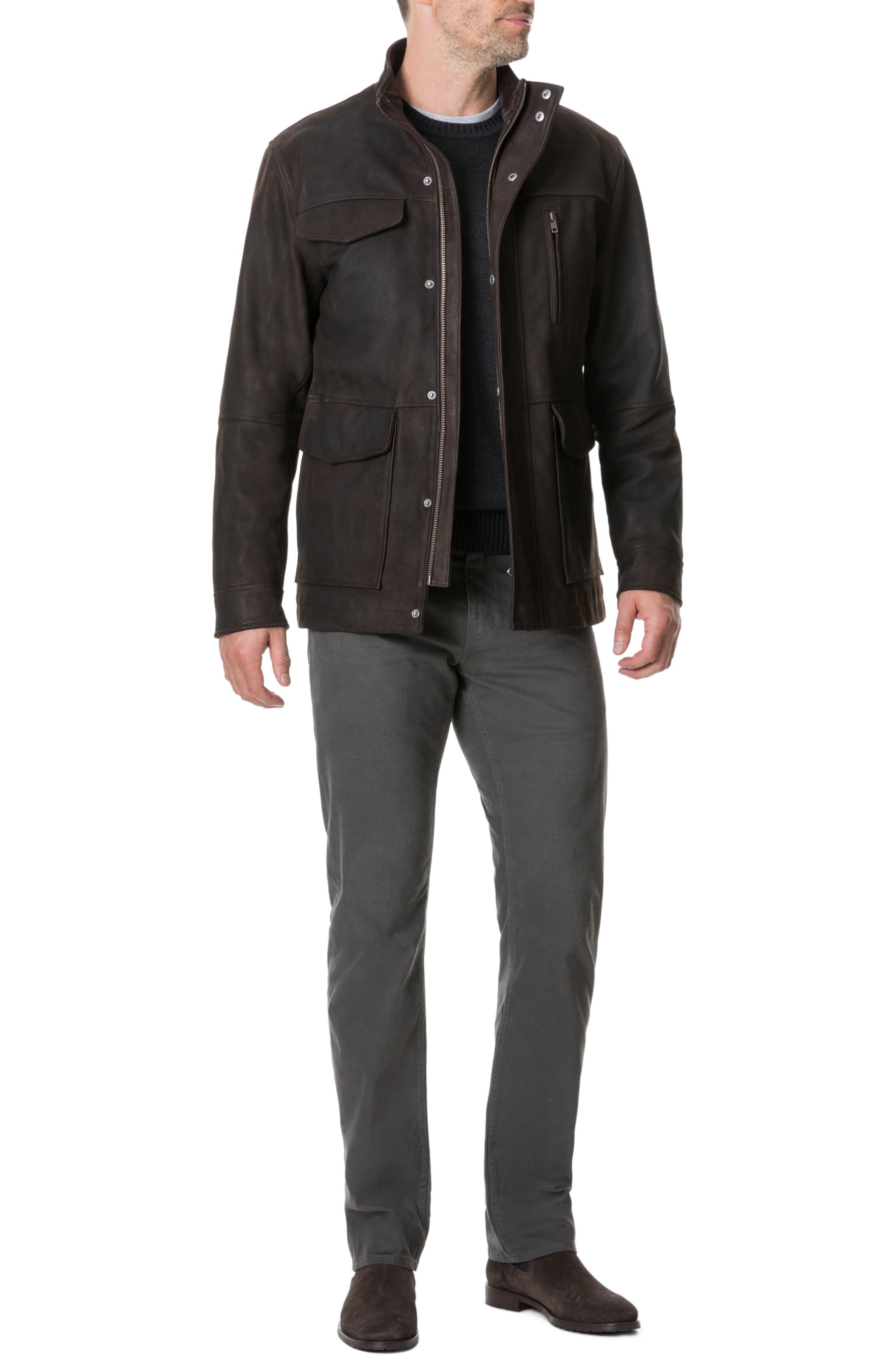 Fairholme Leather Jacket,                             Alternate thumbnail 6, color,                             CHOCOLATE