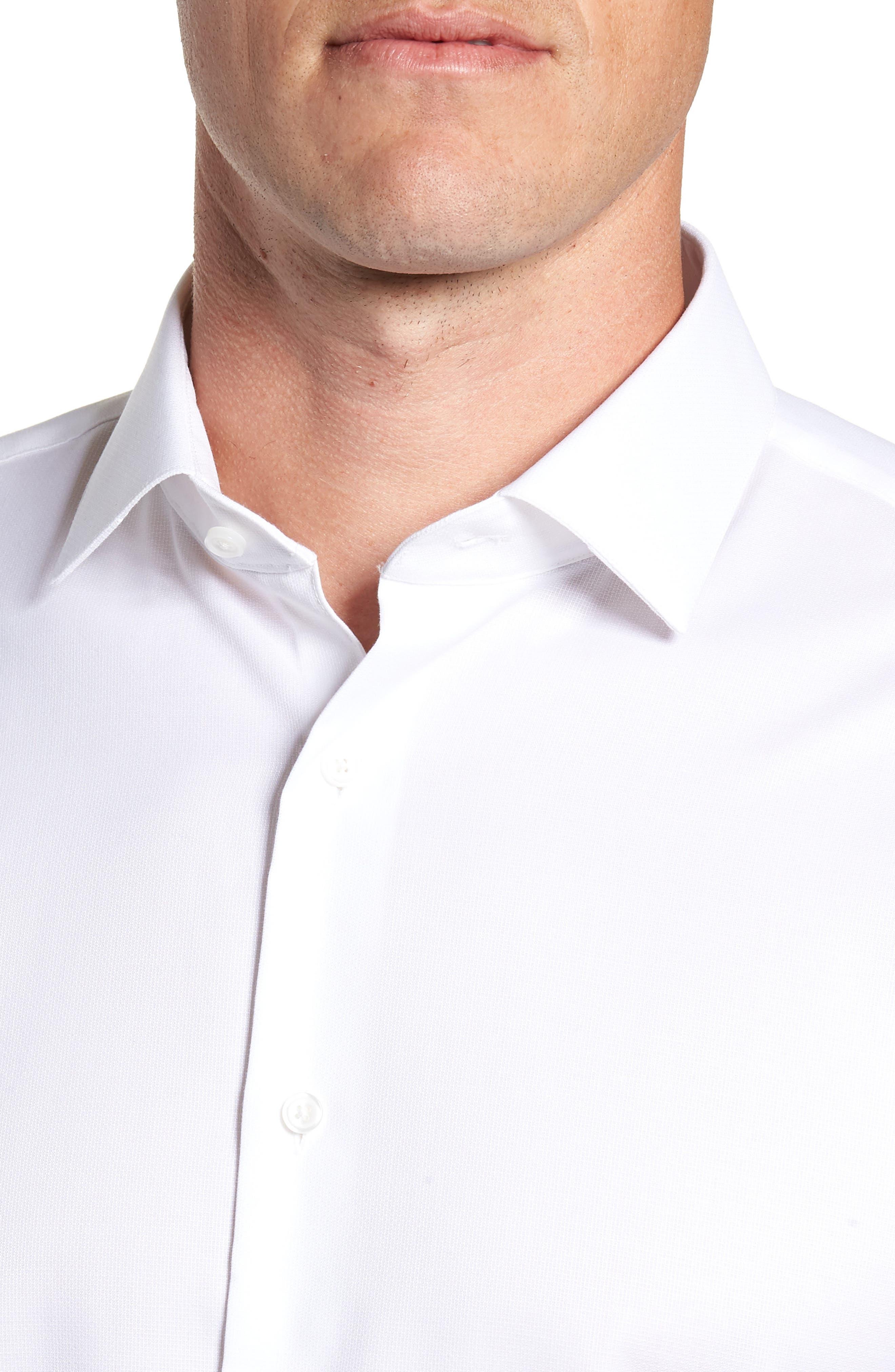 Trim Fit Stretch No-Iron Solid Dress Shirt,                             Alternate thumbnail 2, color,                             WHITE