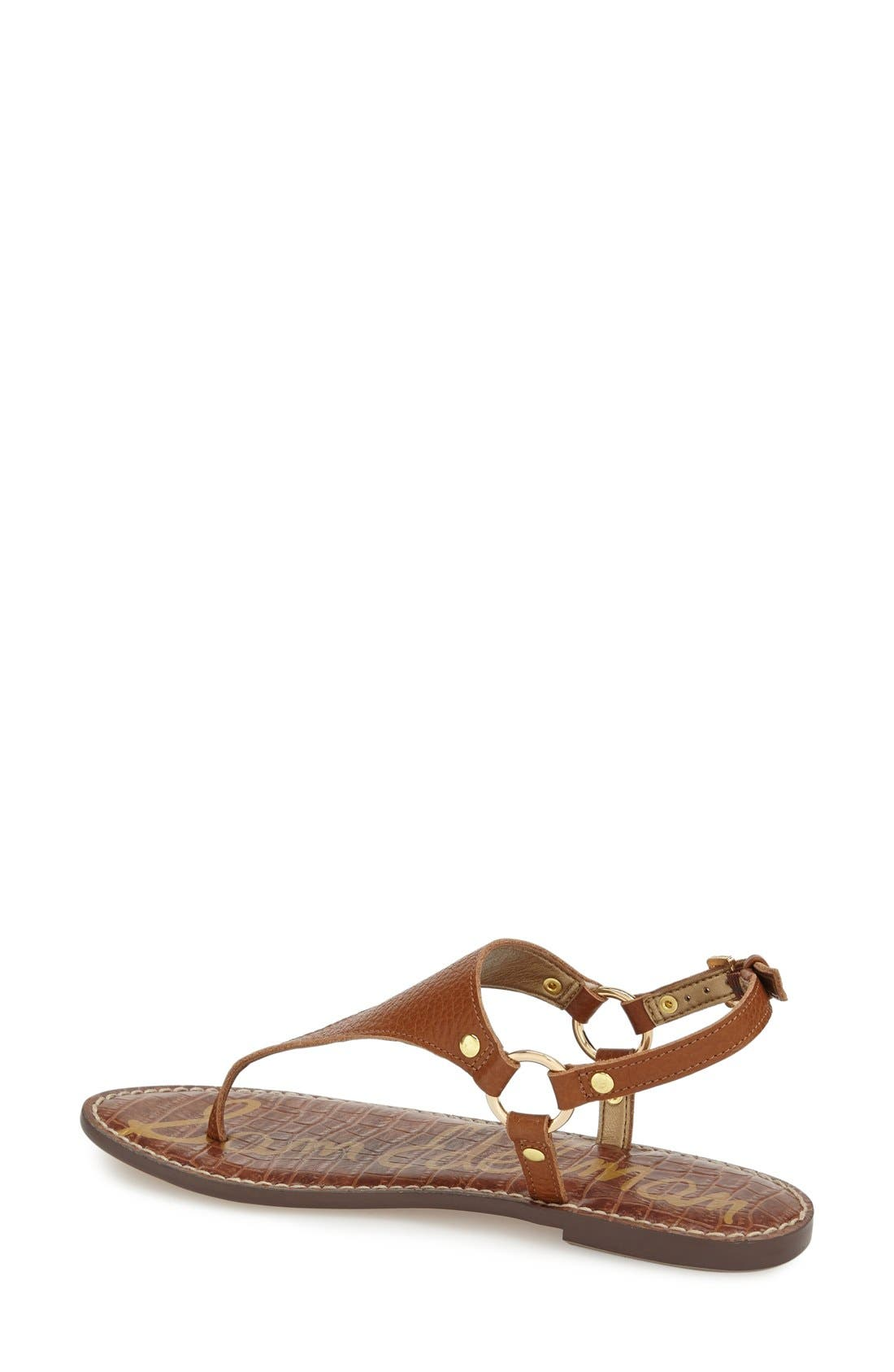 Greta Sandal,                             Alternate thumbnail 3, color,                             SOFT SADDLE LEATHER
