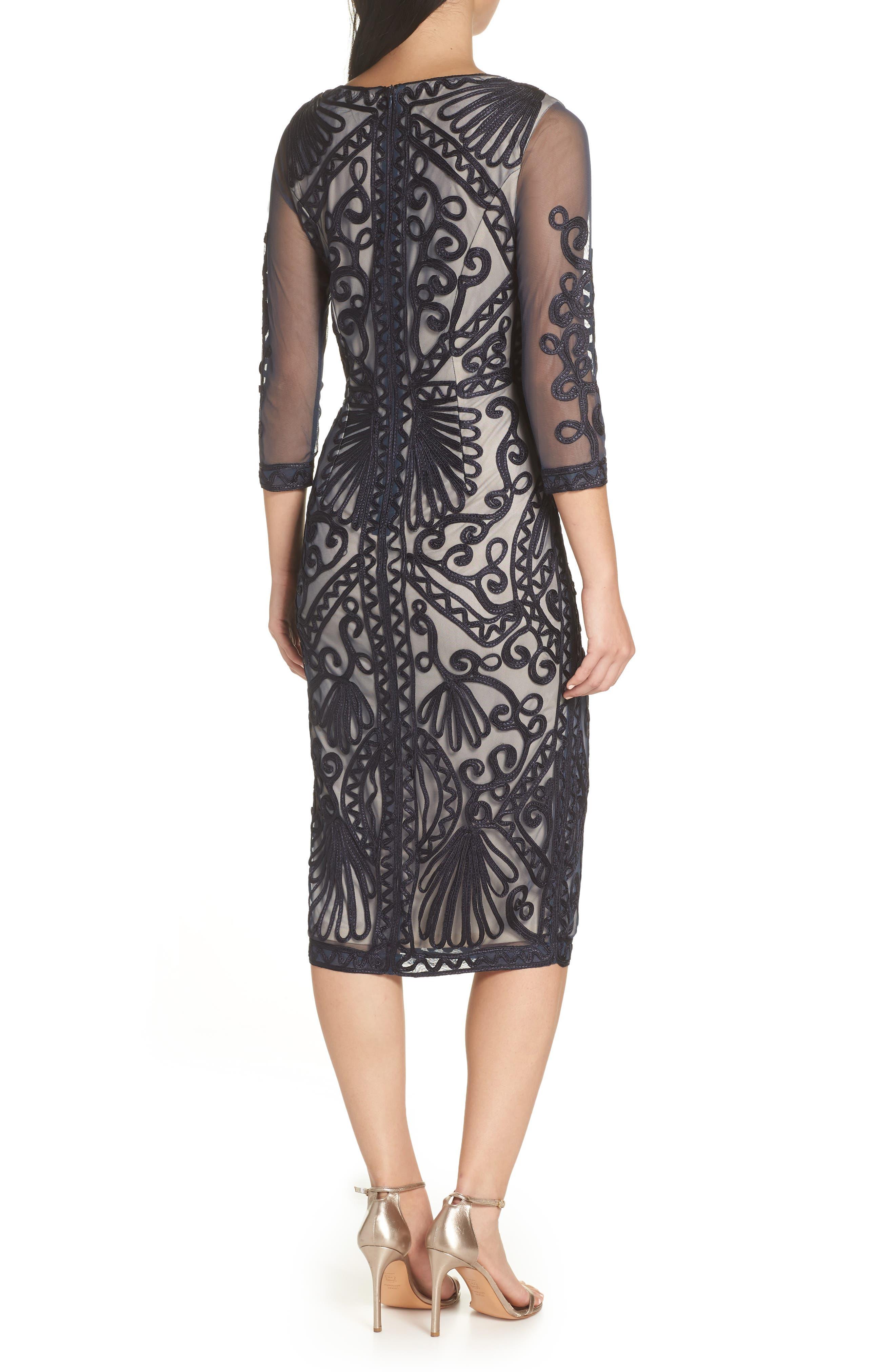 Sheer Sleeve Soutache Sheath Dress,                             Alternate thumbnail 2, color,                             NAVY/ NUDE