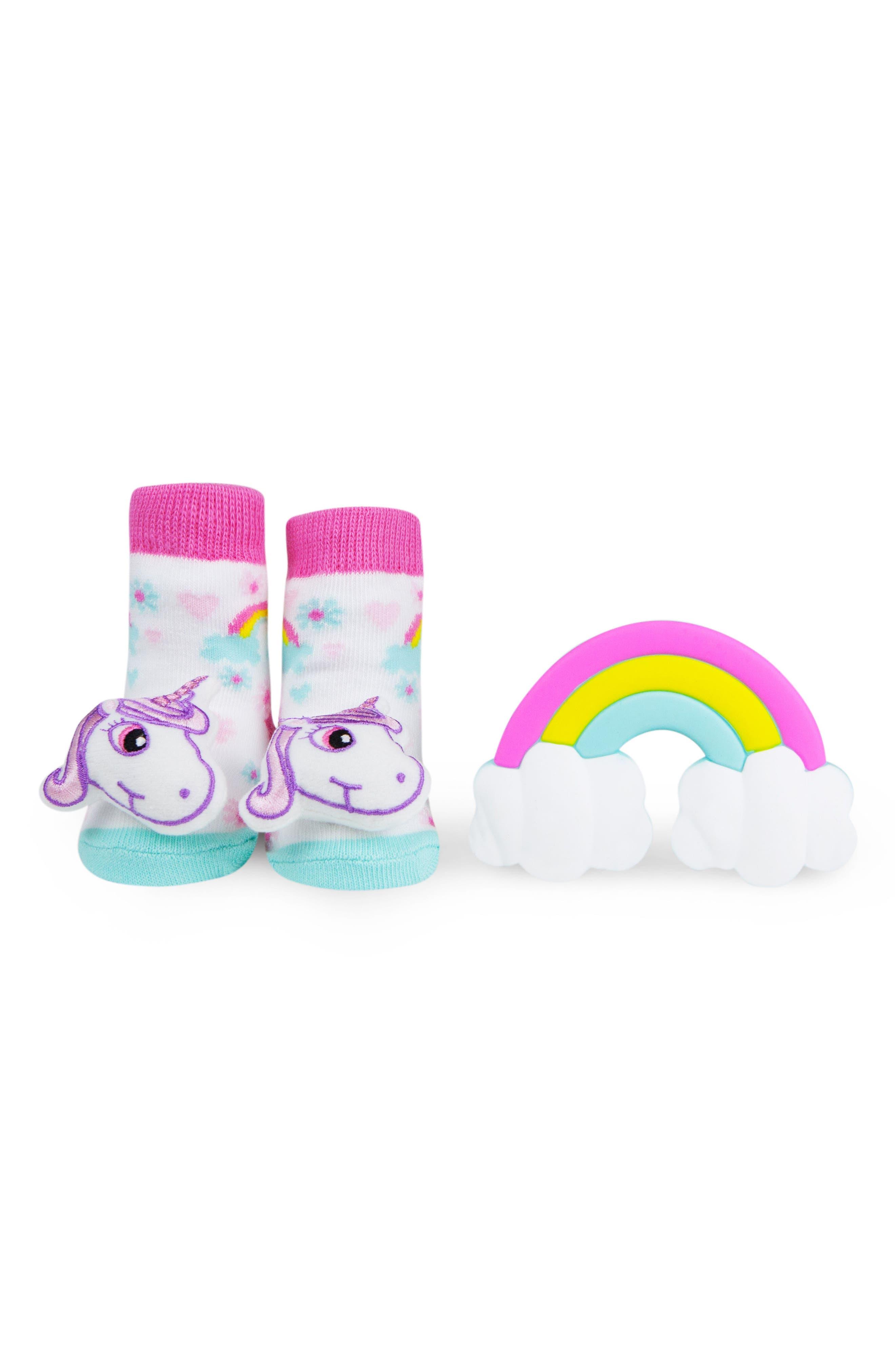 & Friends Unicorn Rattle Socks & Teether Gift Set,                             Main thumbnail 1, color,                             100
