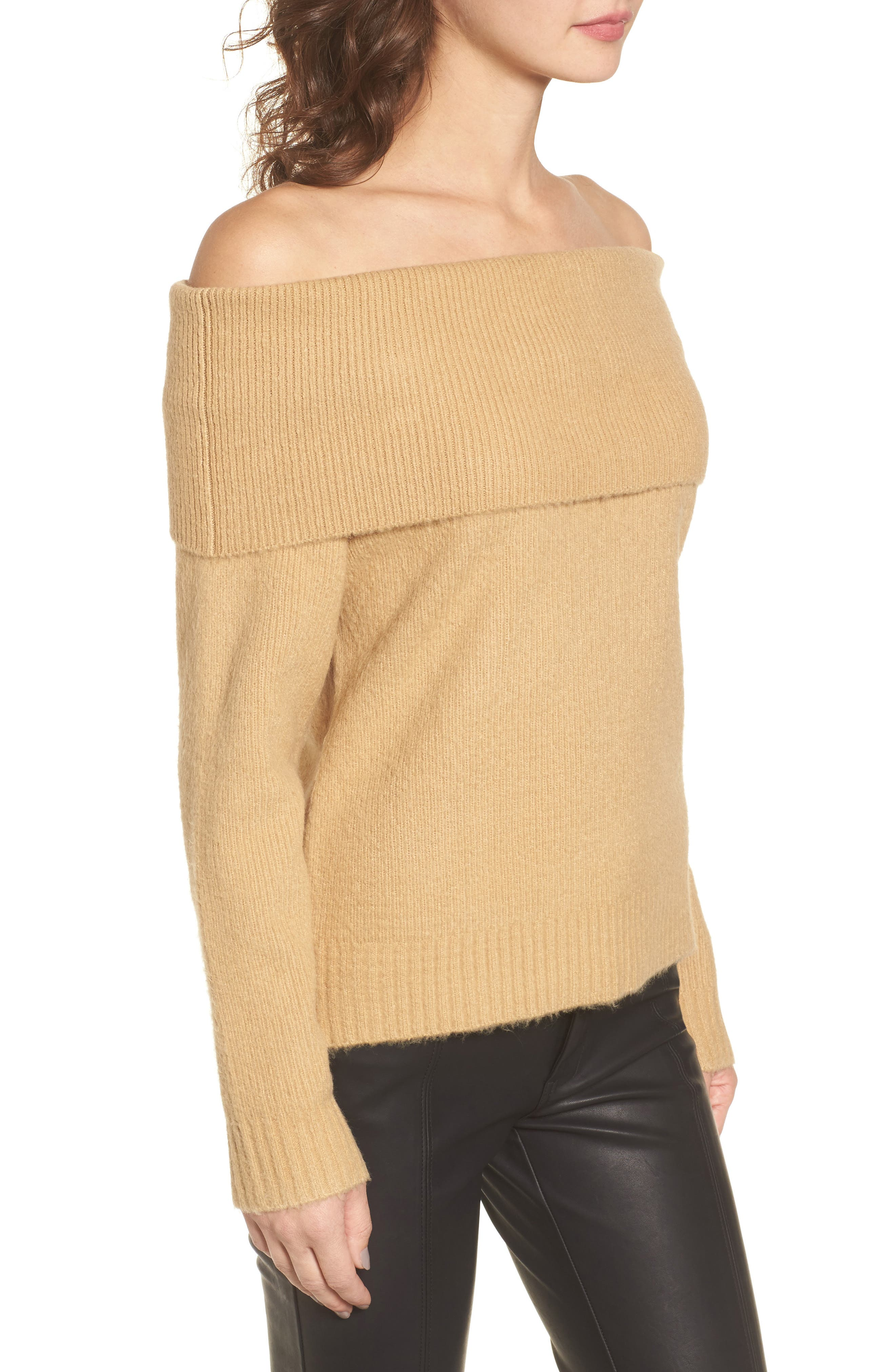 Off the Shoulder Sweater,                             Alternate thumbnail 3, color,
