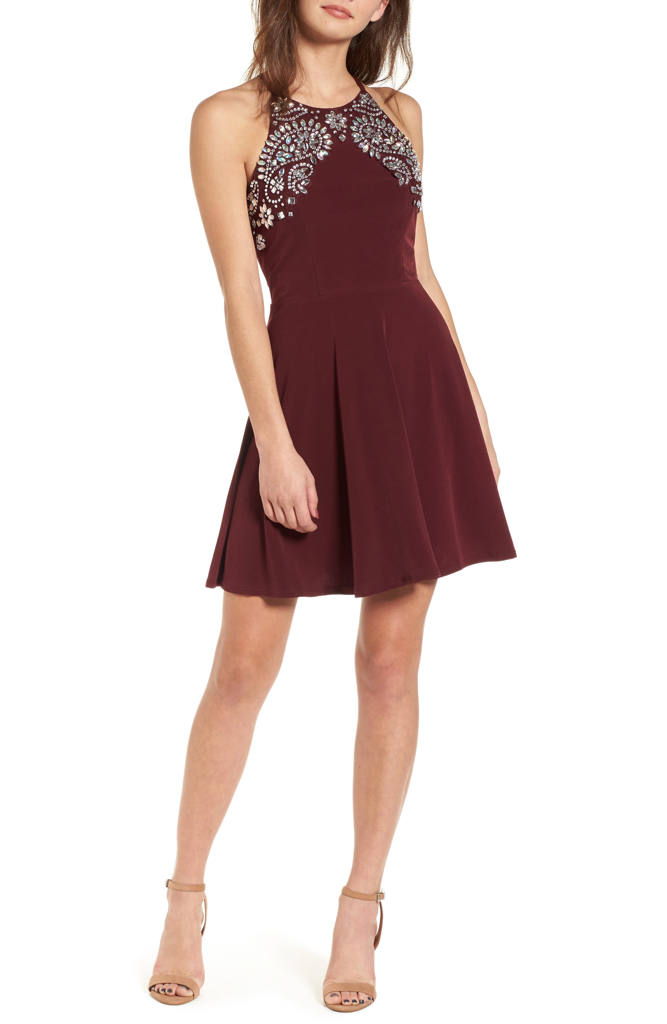 Crystal Halter Dress,                             Main thumbnail 1, color,                             WINE