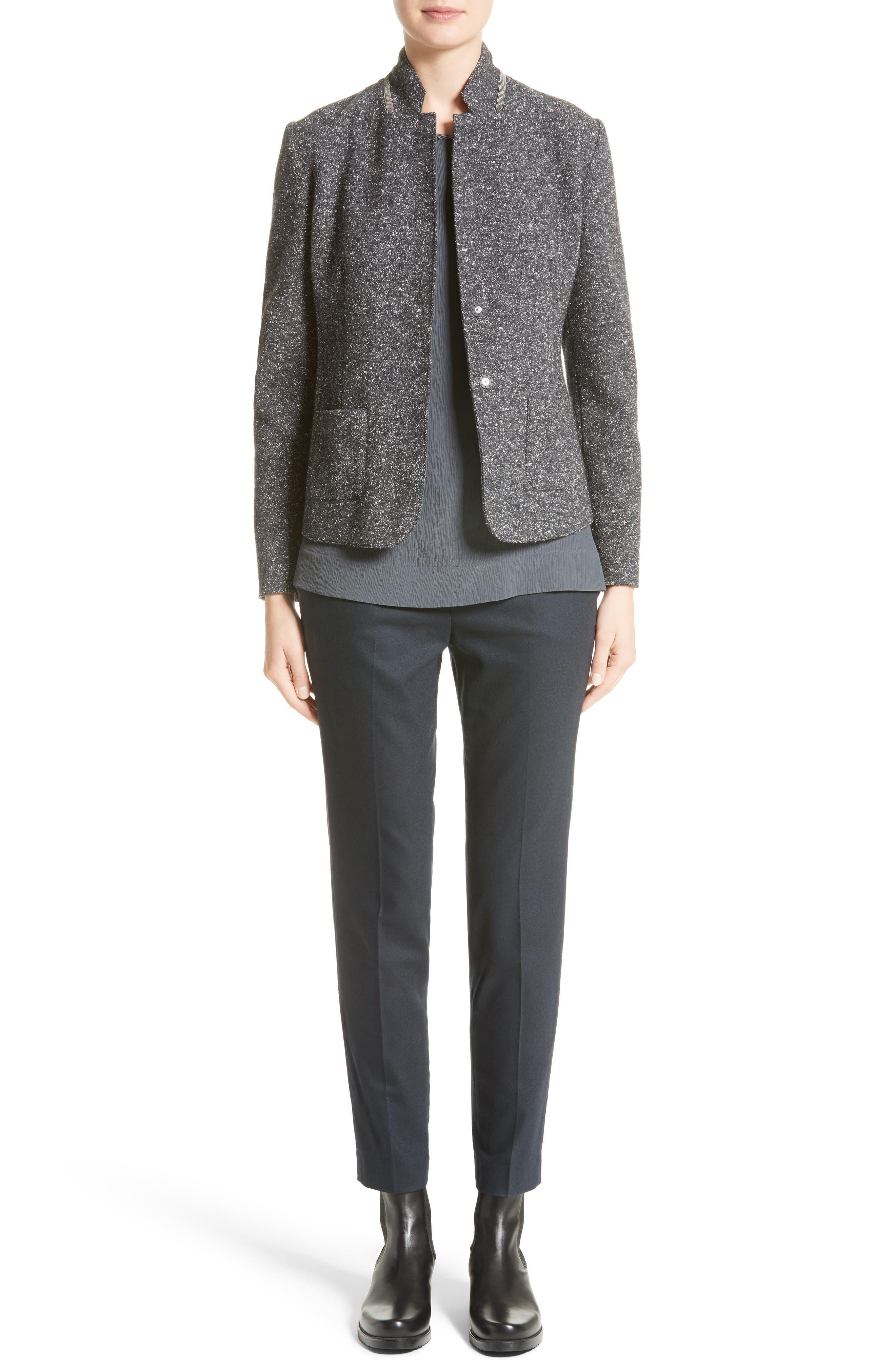 Pebble Tweed Knit Jacket,                             Alternate thumbnail 7, color,