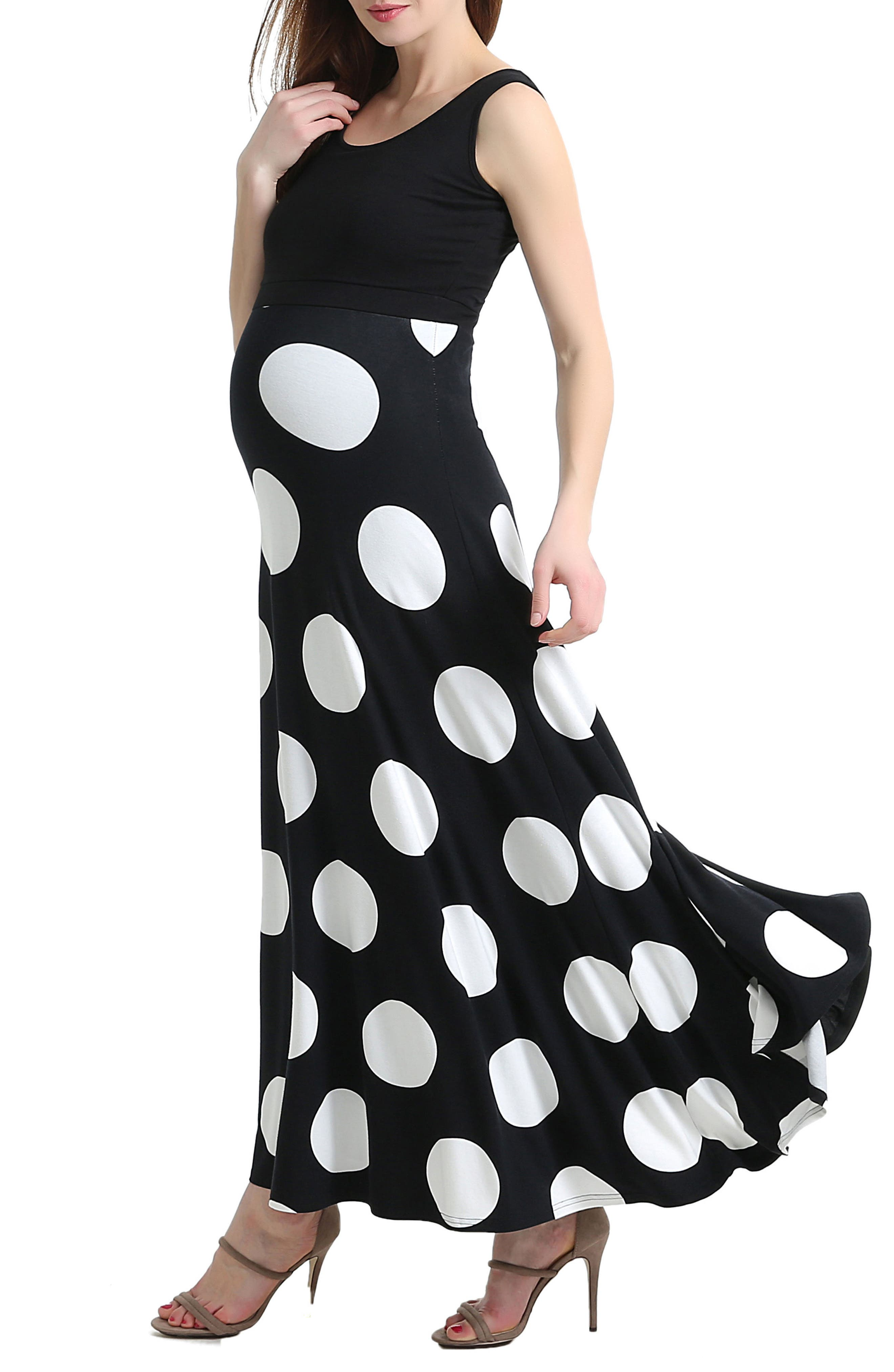 Courtney Polka Dot Maternity Maxi Dress,                             Alternate thumbnail 3, color,                             001