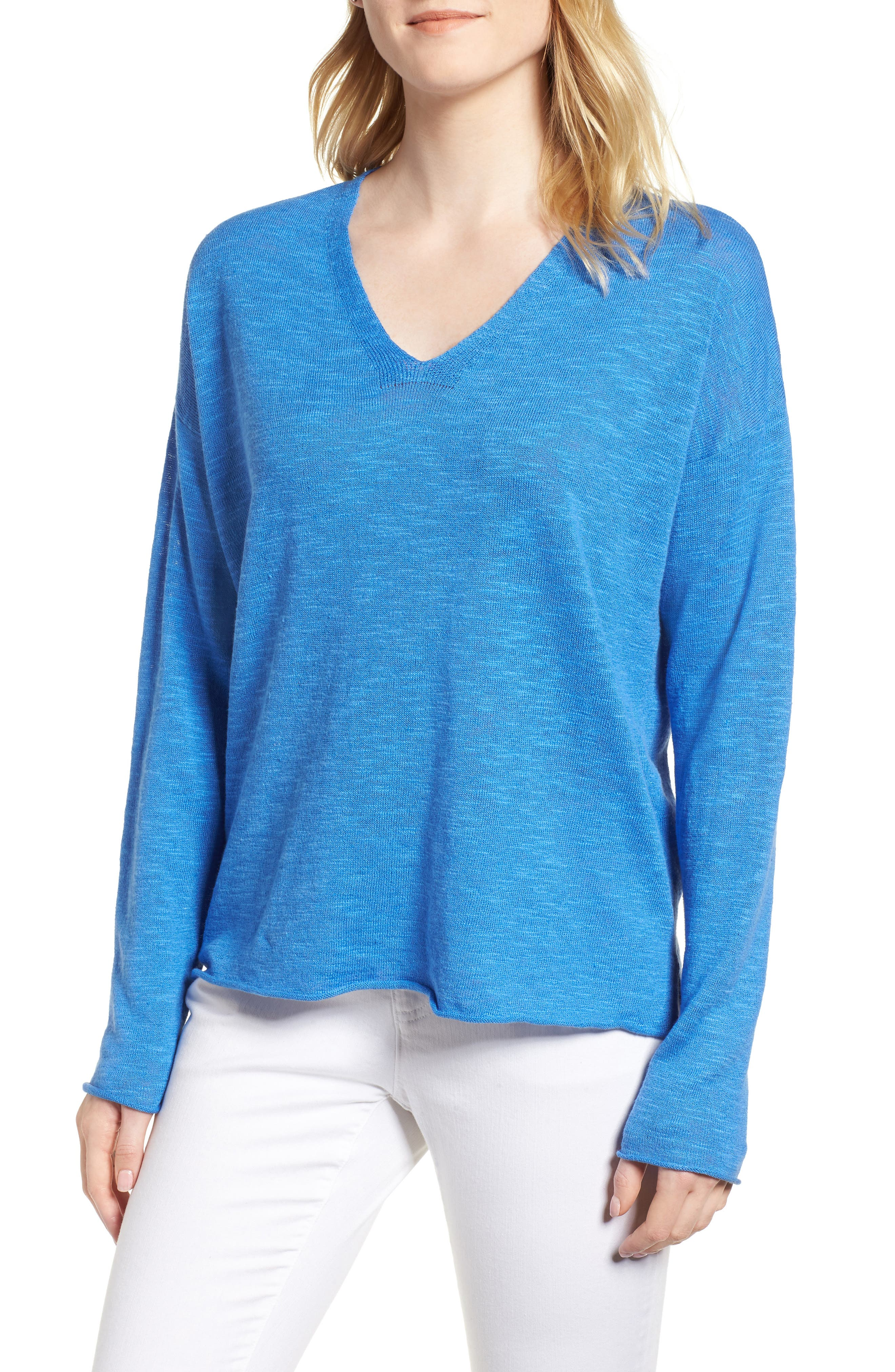 Boxy Organic Linen & Cotton Sweater,                             Main thumbnail 3, color,