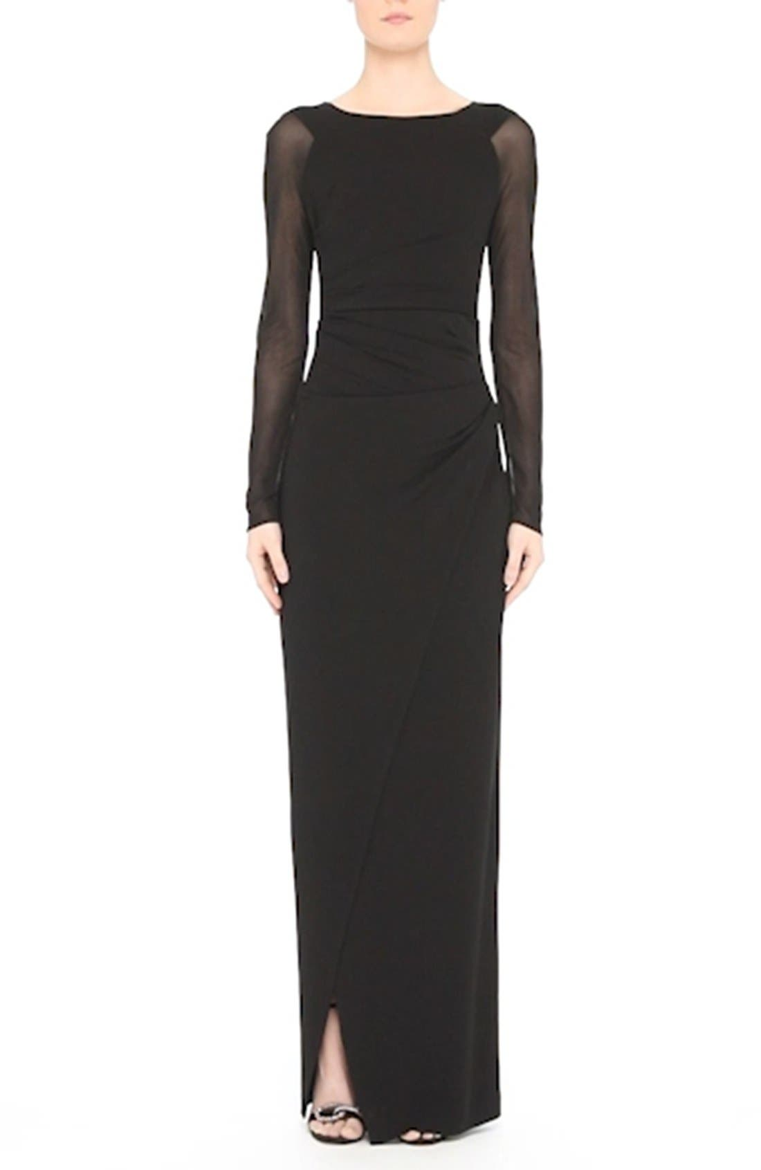 Sheer Sleeve Jersey Column Gown,                             Alternate thumbnail 7, color,                             001