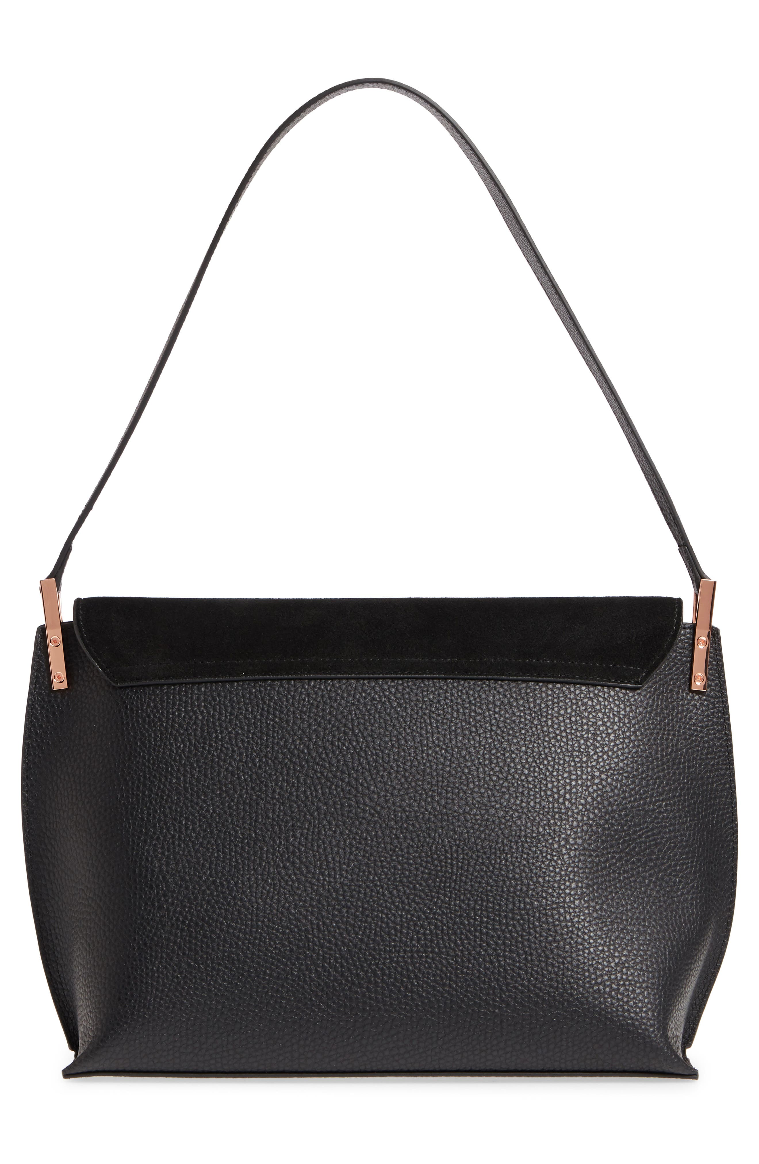 Katlynn Suede & Leather Shoulder Bag,                             Alternate thumbnail 3, color,                             BLACK
