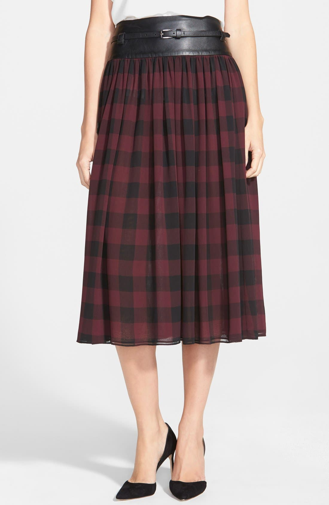 Faux Leather Trim Buffalo Check Midi Skirt, Main, color, 006