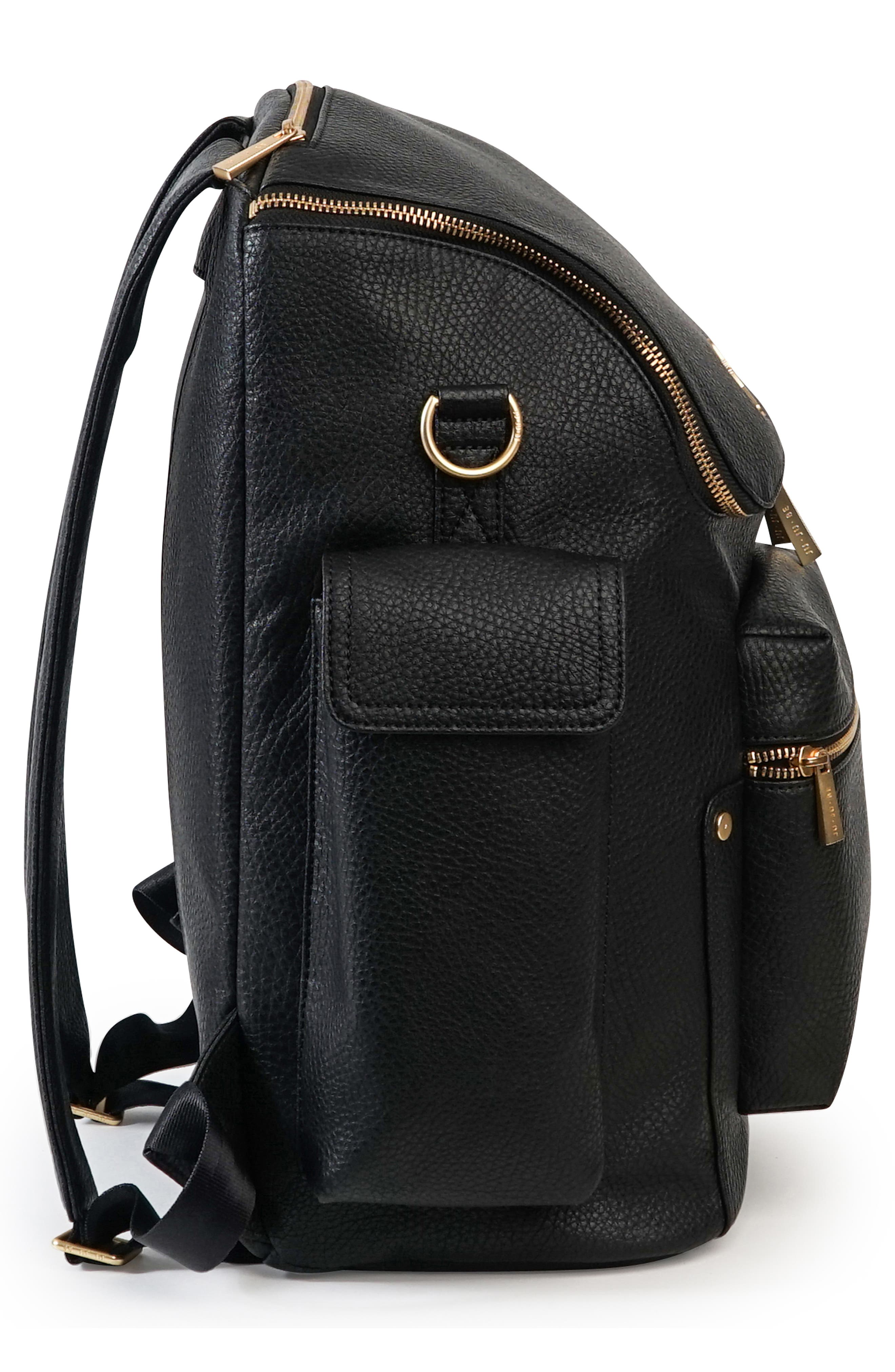 Ever Collection Forever Faux Leather Diaper Backpack,                             Alternate thumbnail 3, color,                             NOIR