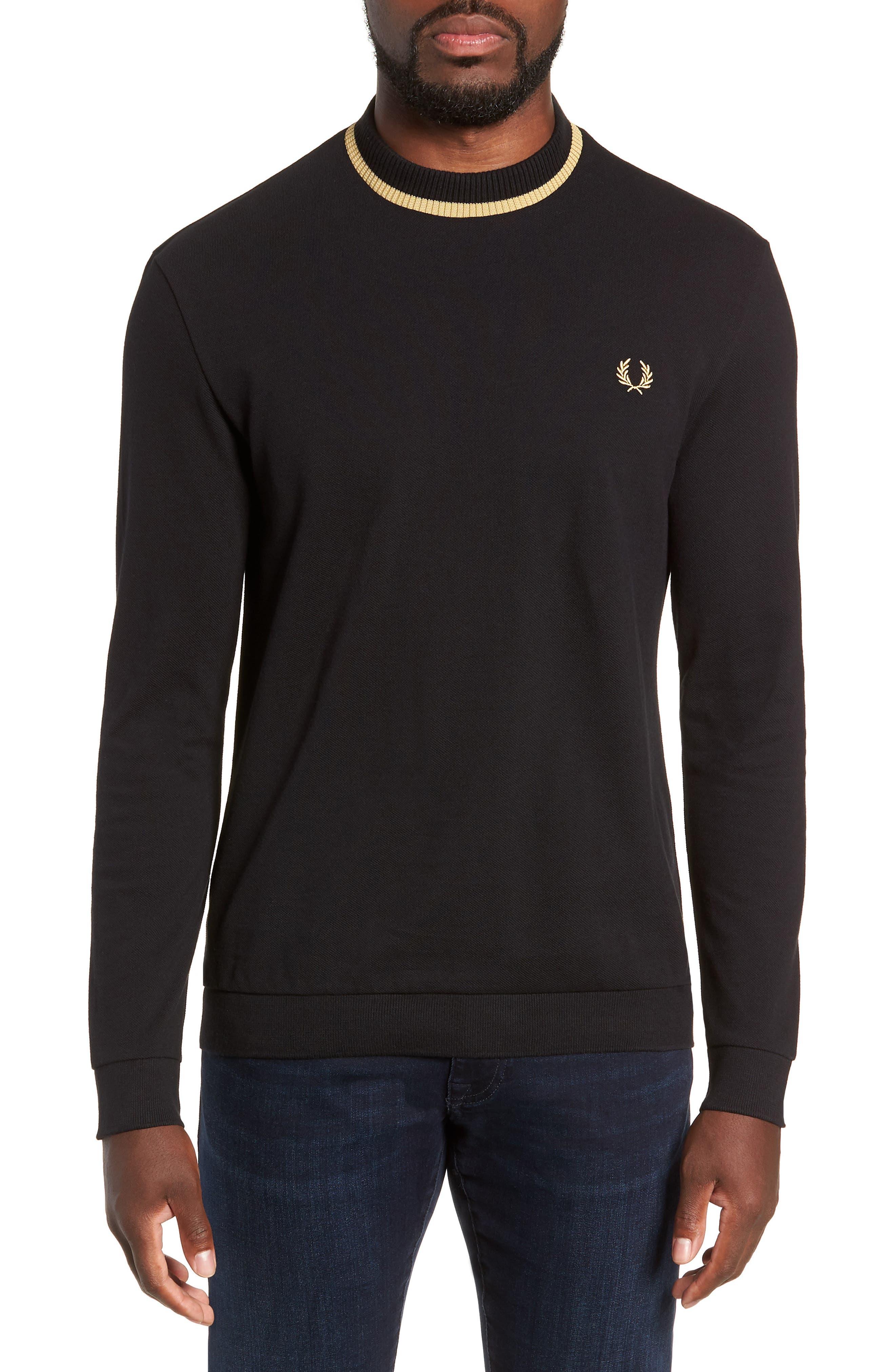 Long Sleeve Piqué T-Shirt,                             Main thumbnail 1, color,                             BLACK / CHAMPAGNE