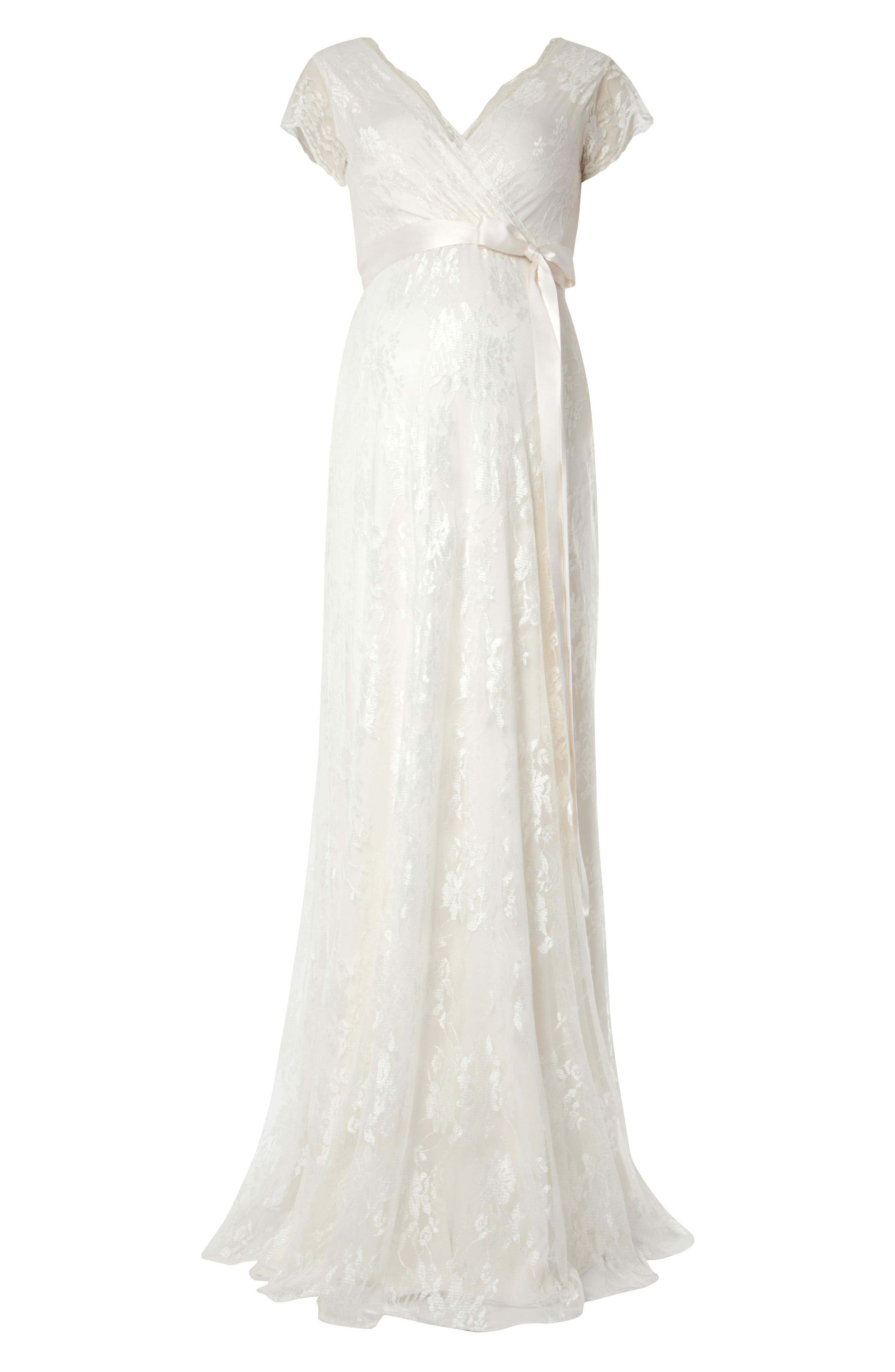 Eden Lace Maternity Gown,                             Alternate thumbnail 3, color,                             IVORY DREAM